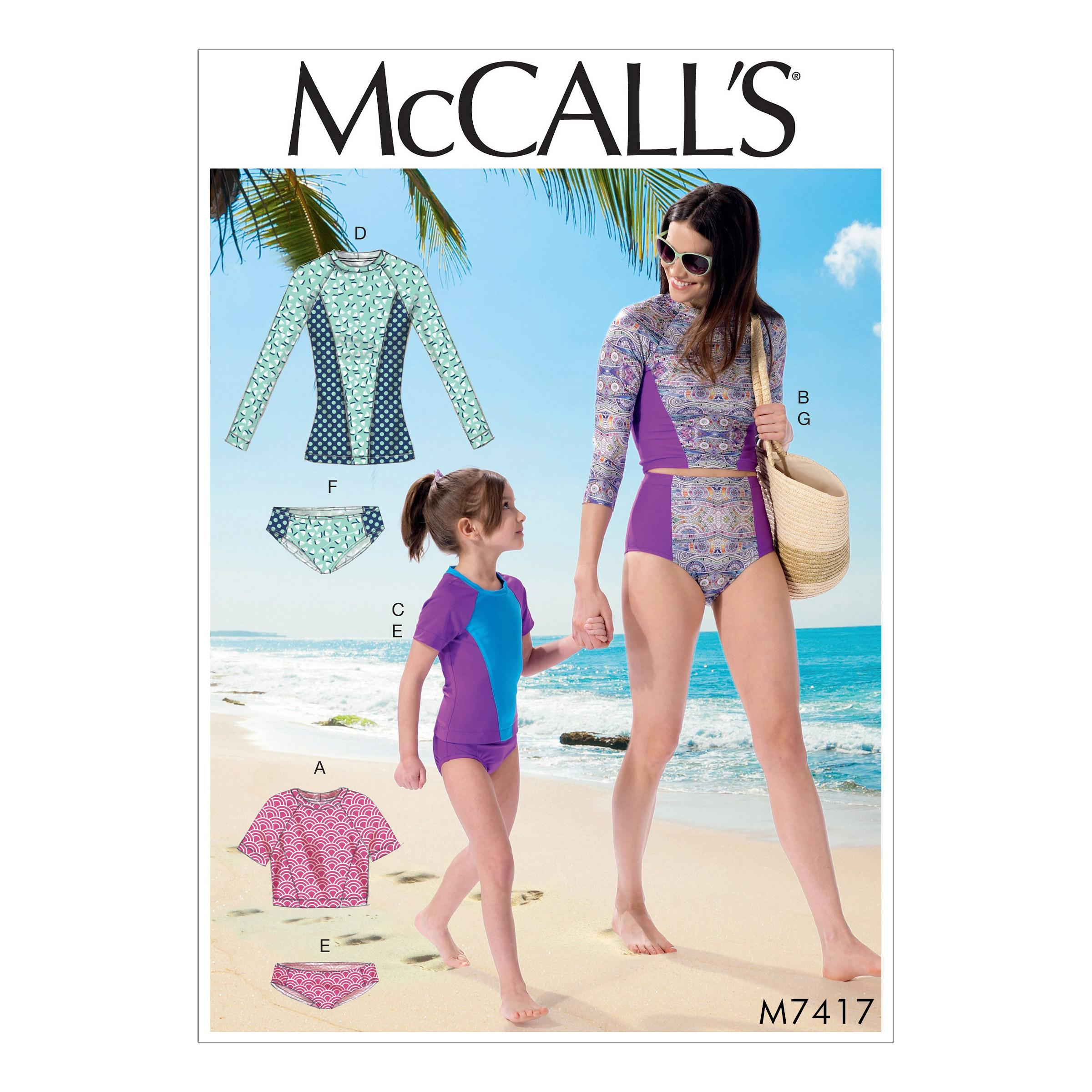 McCalls M7417 Misses Activewear, Kids Girls & Boys, Misses Coordinates
