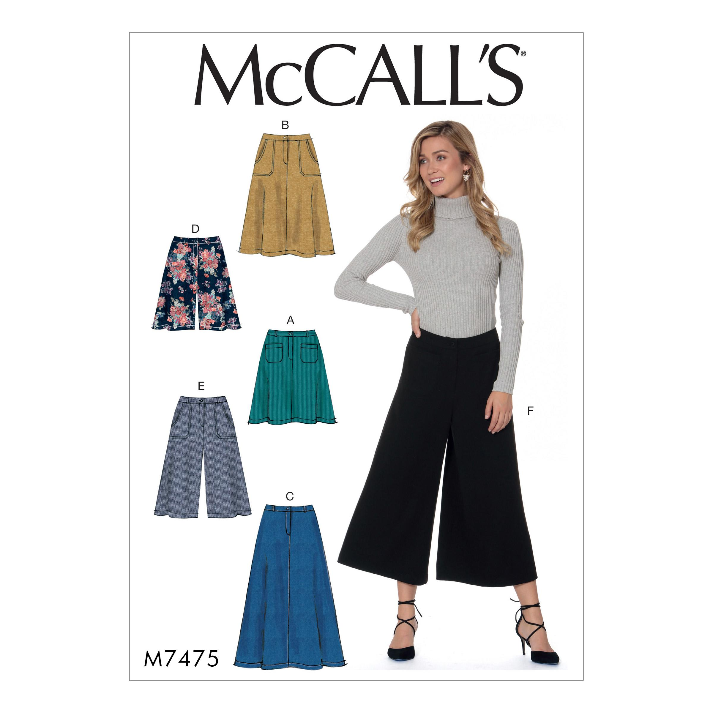 McCalls M7475 Misses Skirts, Misses Pants, Jumpsuits & Shorts