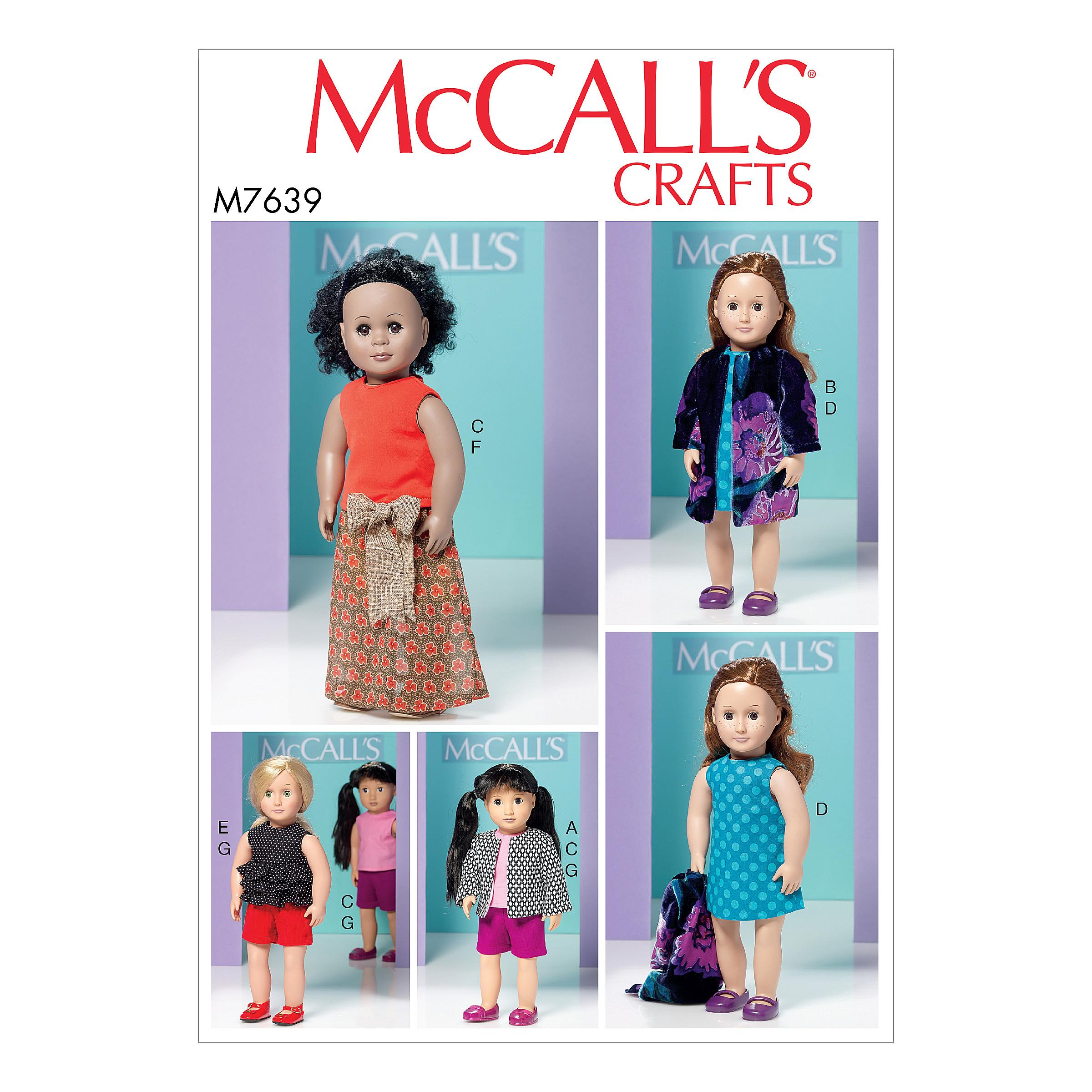 McCalls M7639 Crafts Dolls & Toys