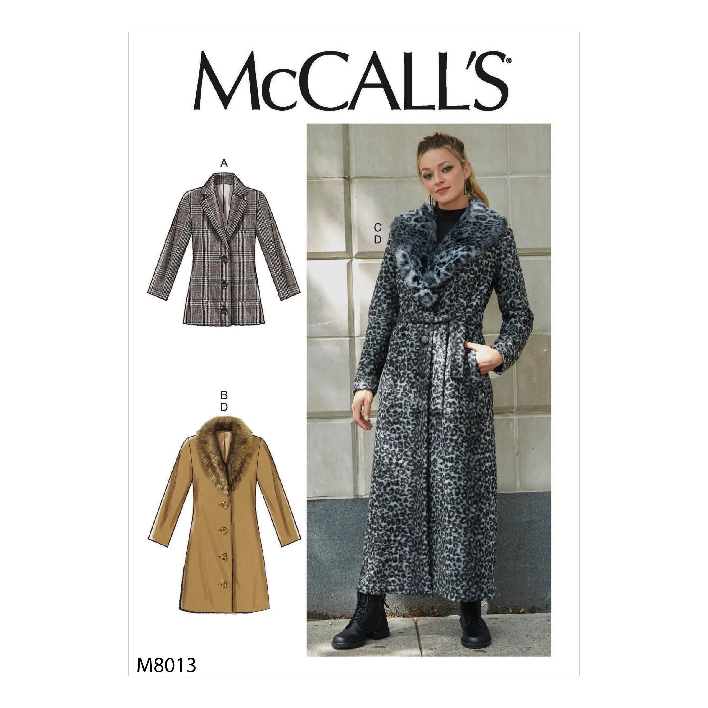 McCalls M8013 Misses Coats, Capes & Ponchos, Misses Jackets & Vests