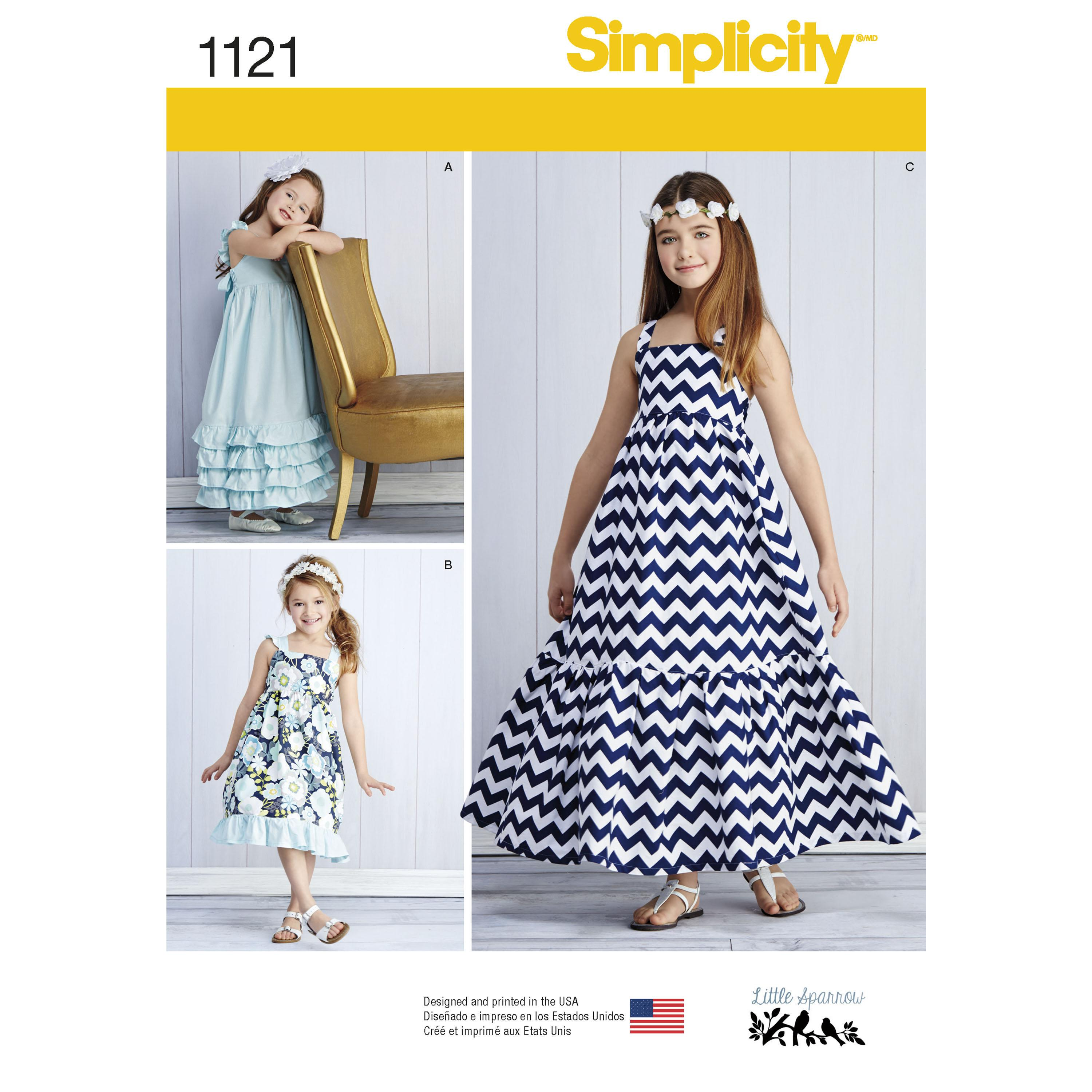 Simplicity S1121 Child's and Girls' Pullover Dresses