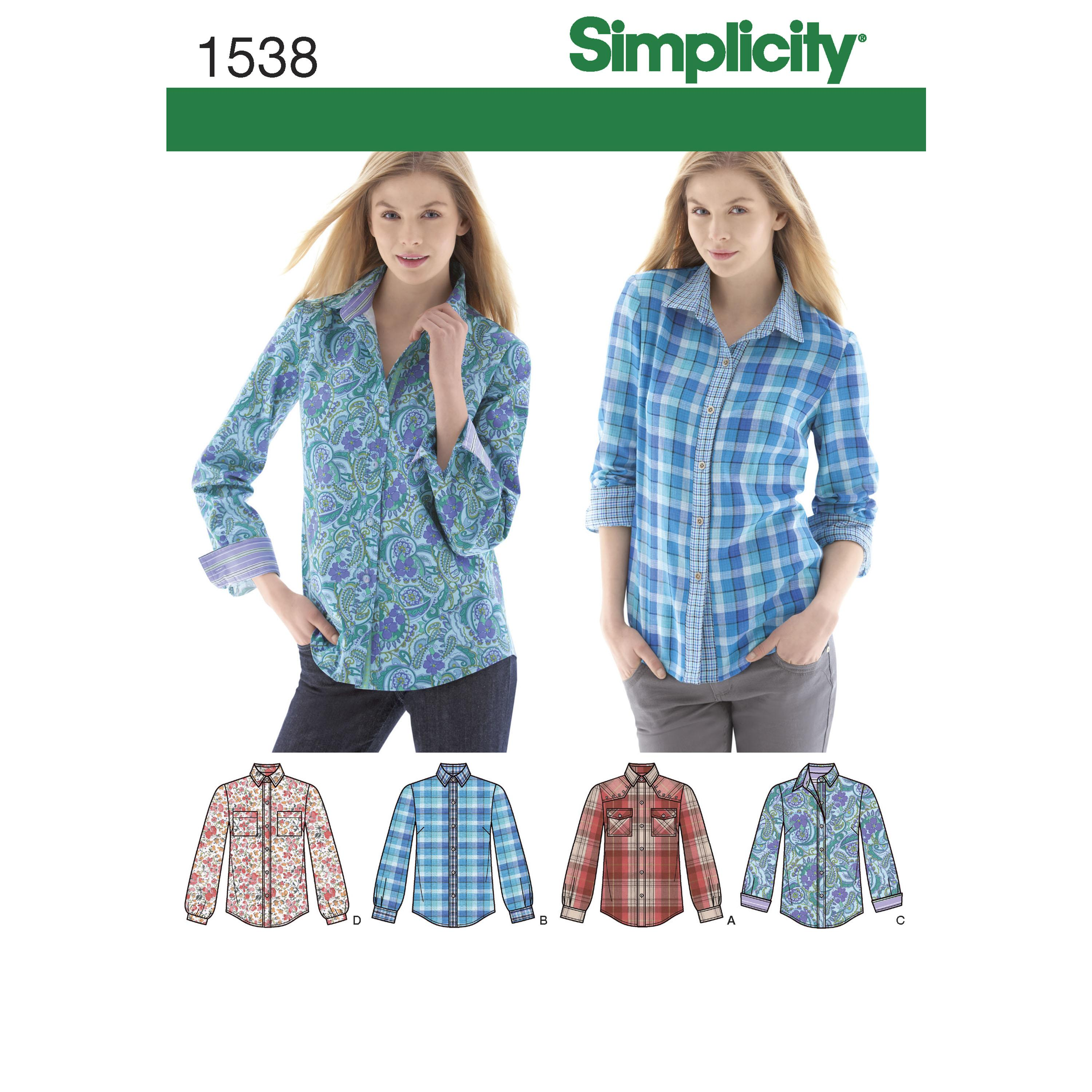 Simplicity S1538 Women's  Button Front Shirt sizes 6 - 22