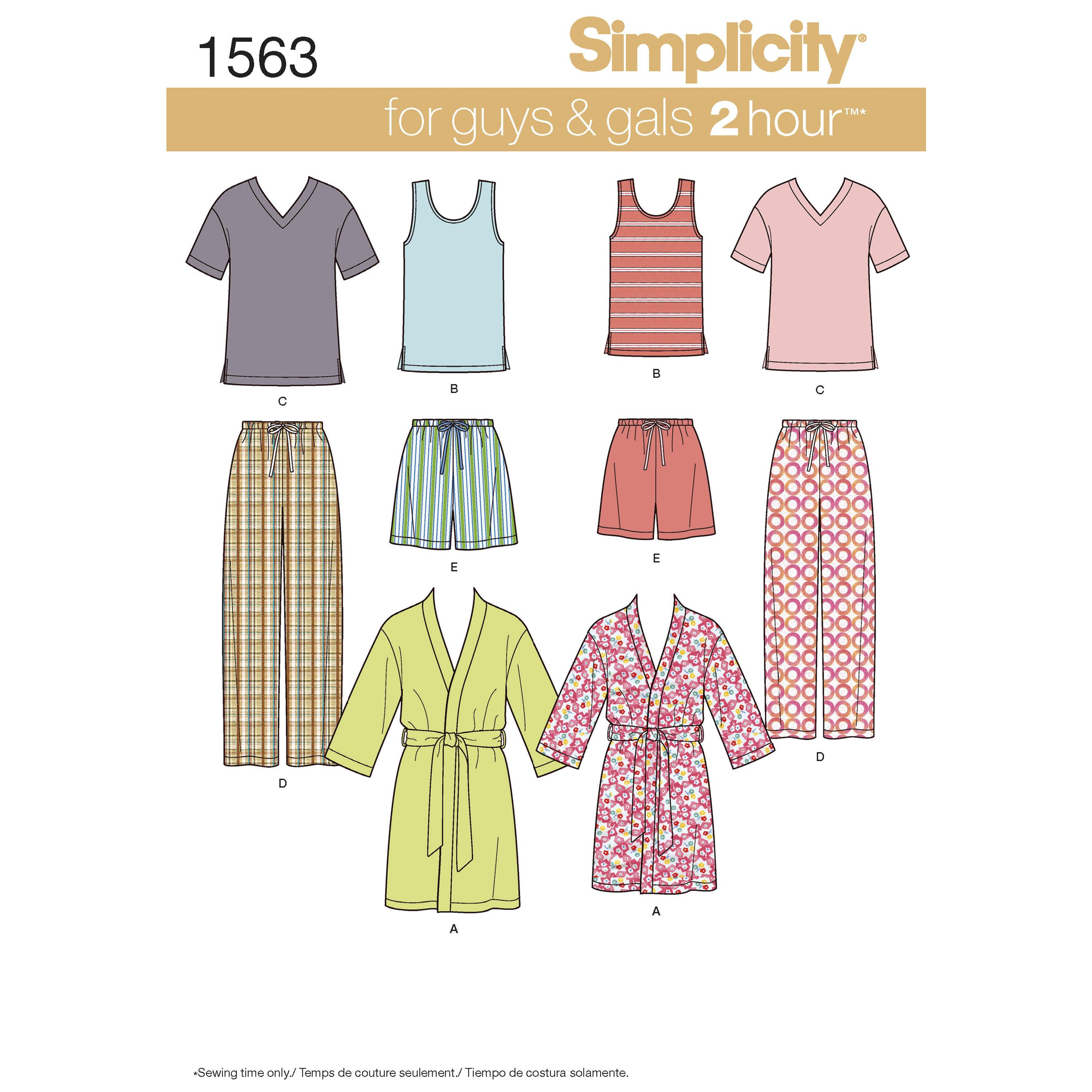 Simplicity S1563 Women's Men's and Teens' Sleepwear