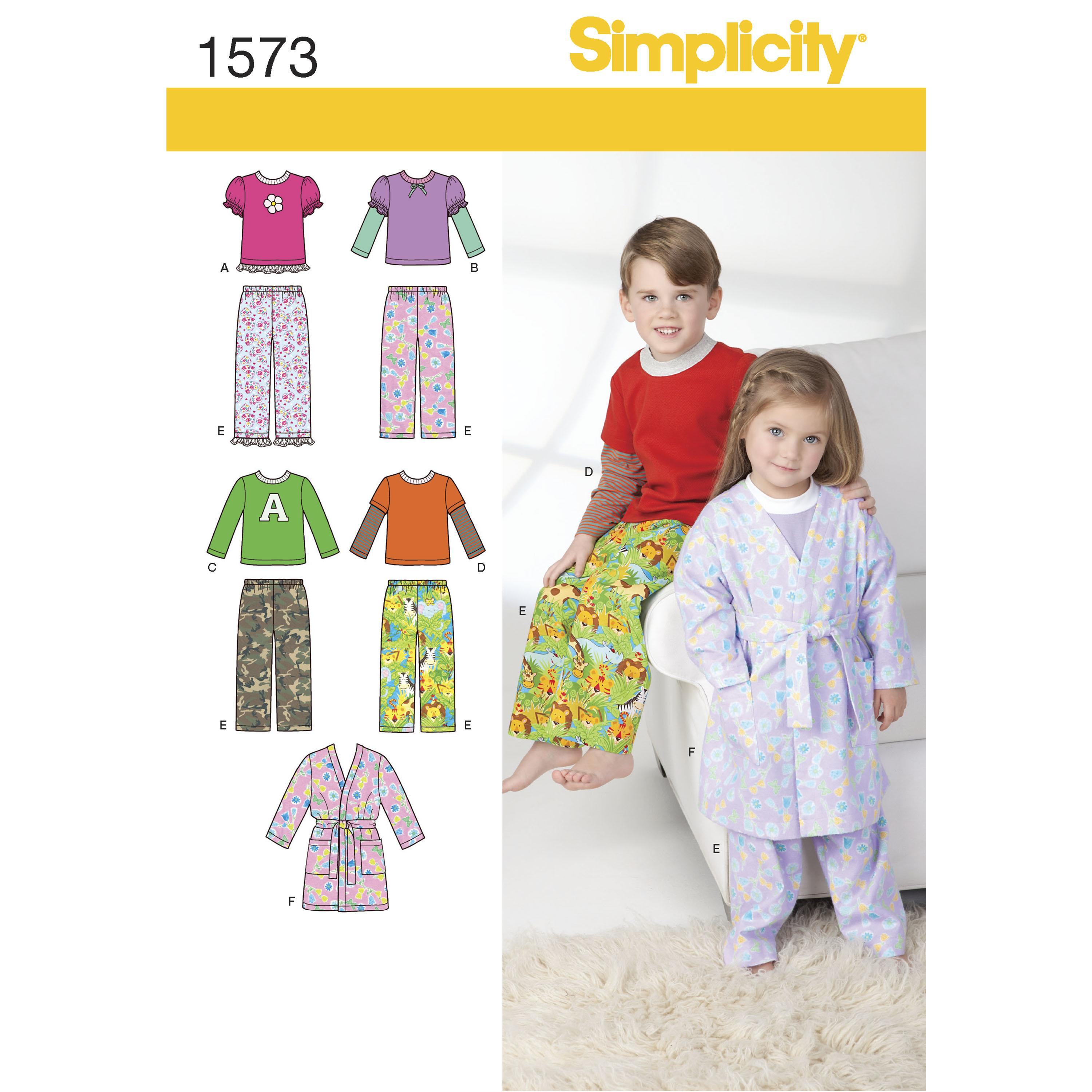 Simplicity S1573 Toddlers' and Child's Loungewear