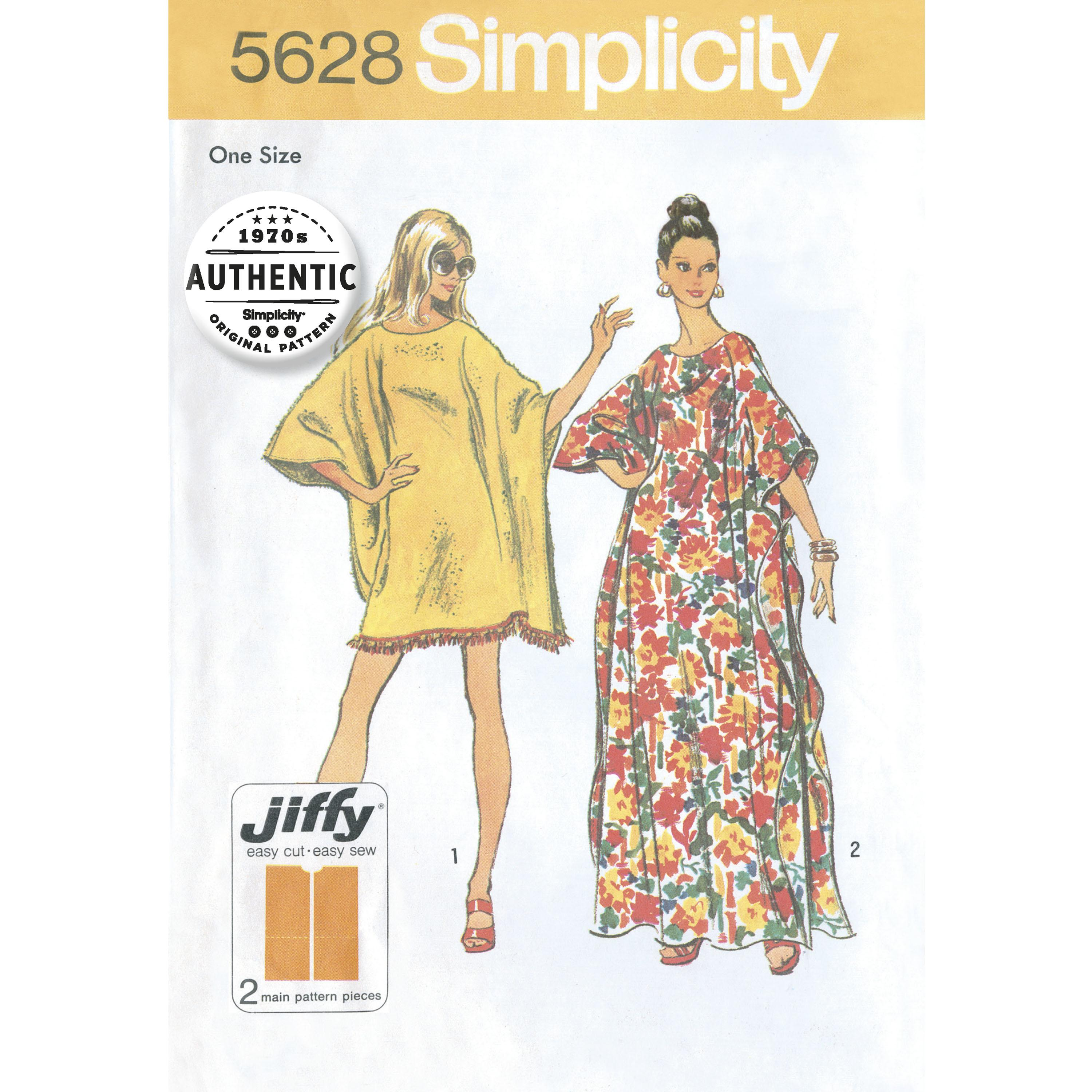 Simplicity S5628 Women's One Size Vintage Jiffy Caftan