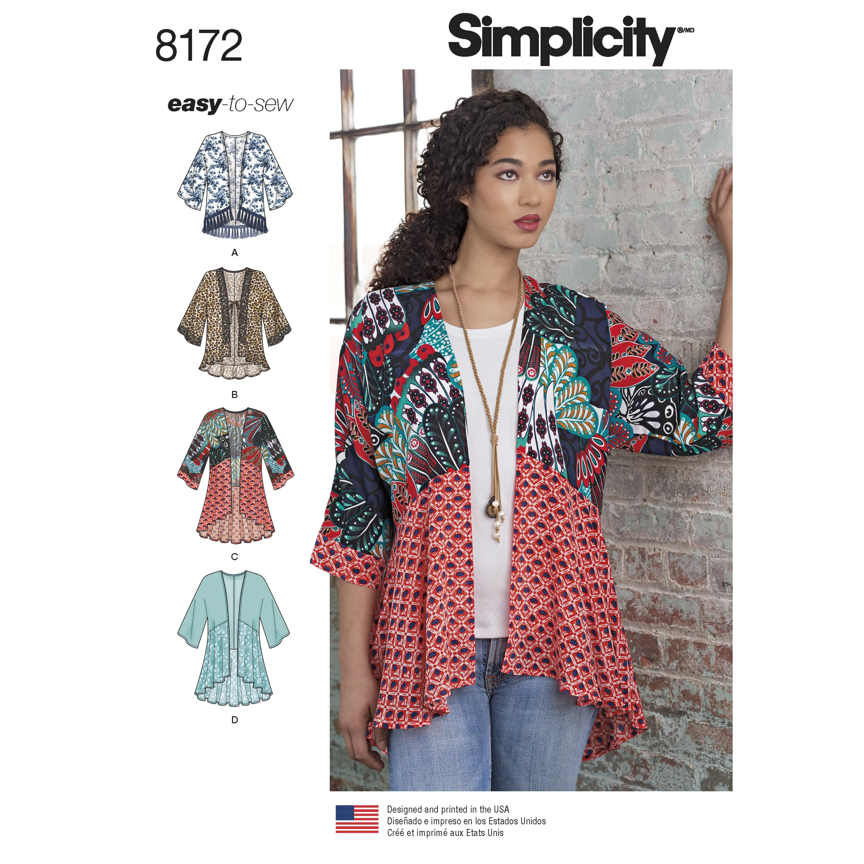 Simplicity S8172 Women's Fashion Kimonos with Length, Fabric and Trim Variations