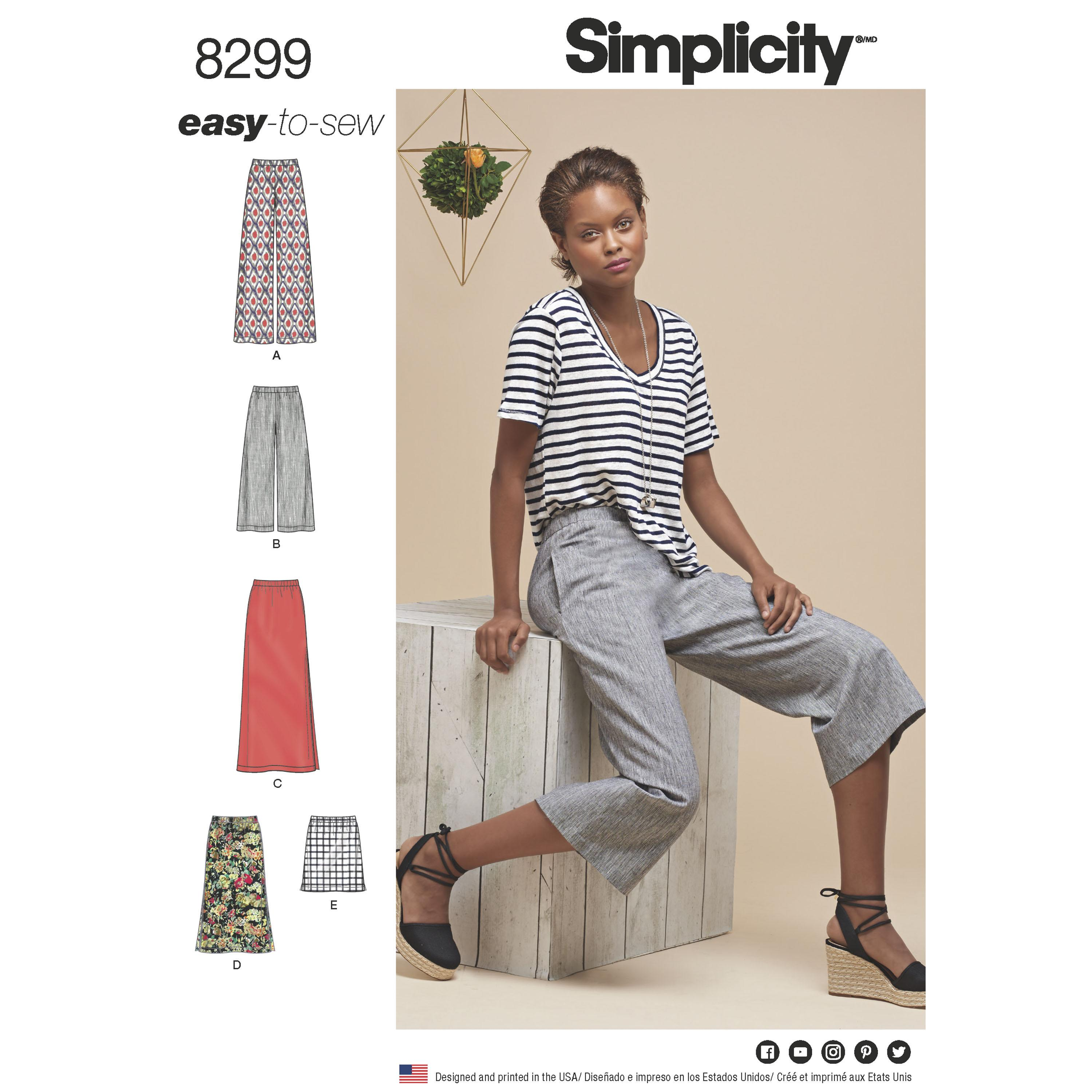 Simplicity S8299 Women's Skirts  or trousers in various lengths