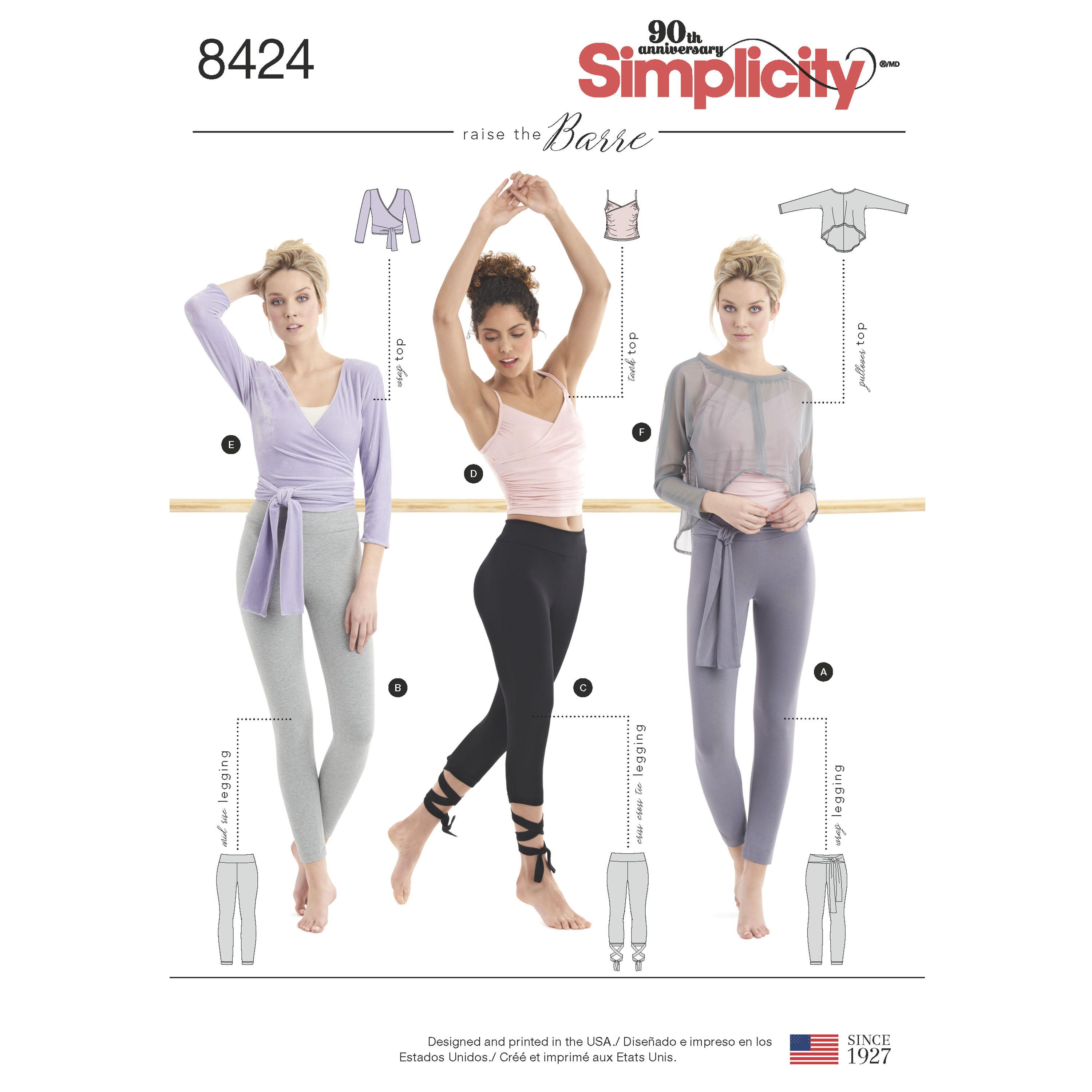 Simplicity S8424 Women's Knit Leggings in Two Lengths and Three Top Options