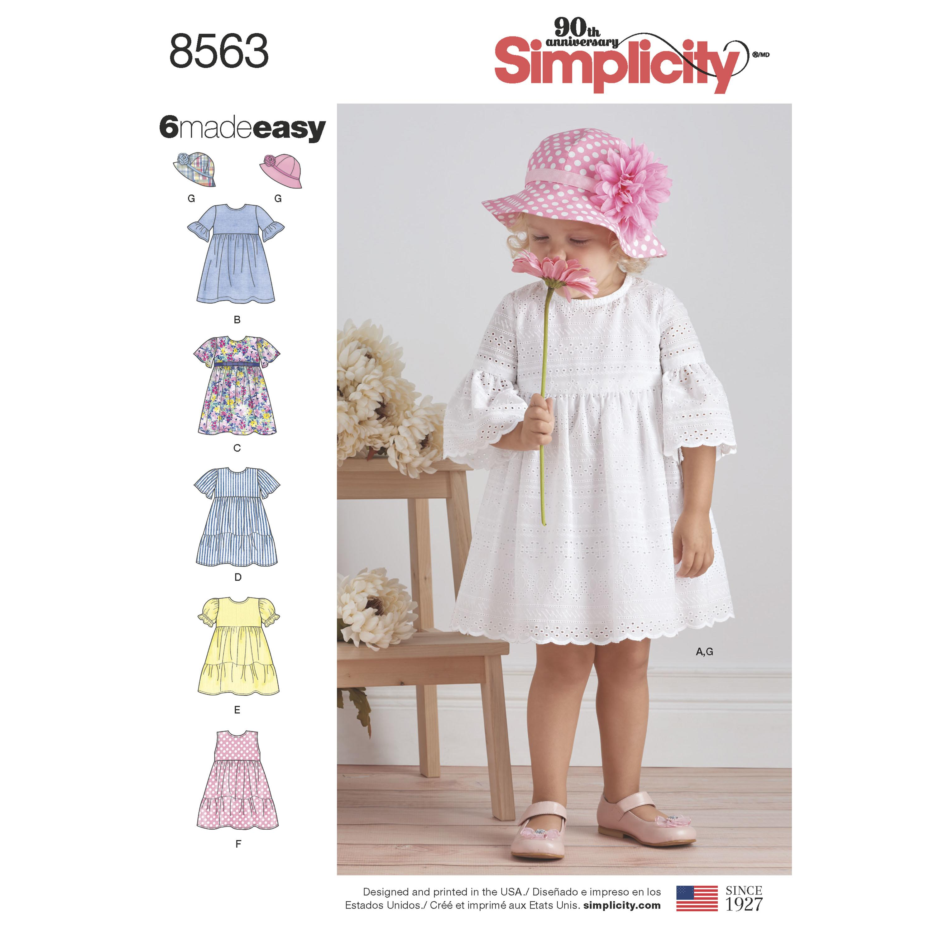 Simplicity S8563 Toddler Dresses and Hat