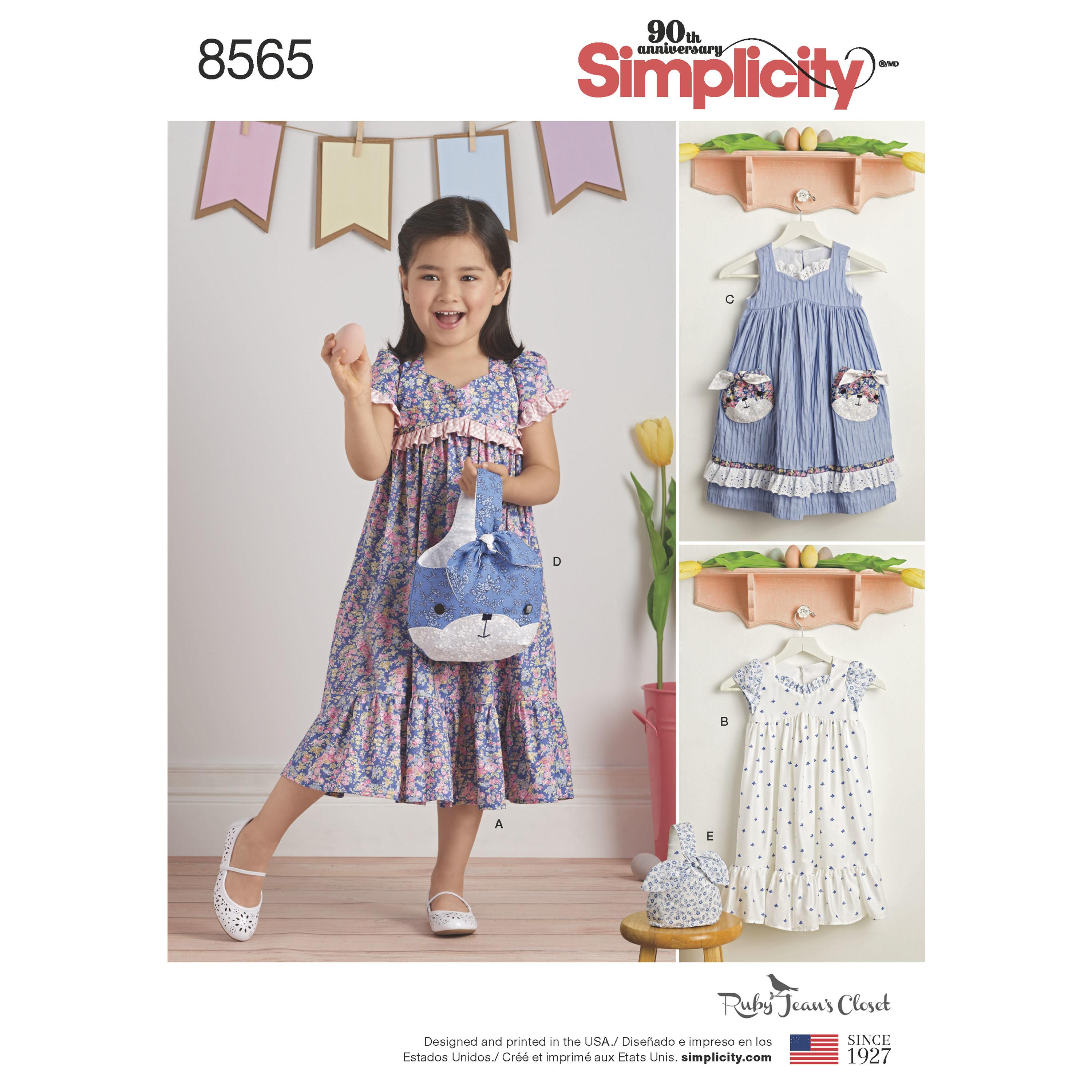 Simplicity S8565 Child's Ruby Jean's Dresses and Purses
