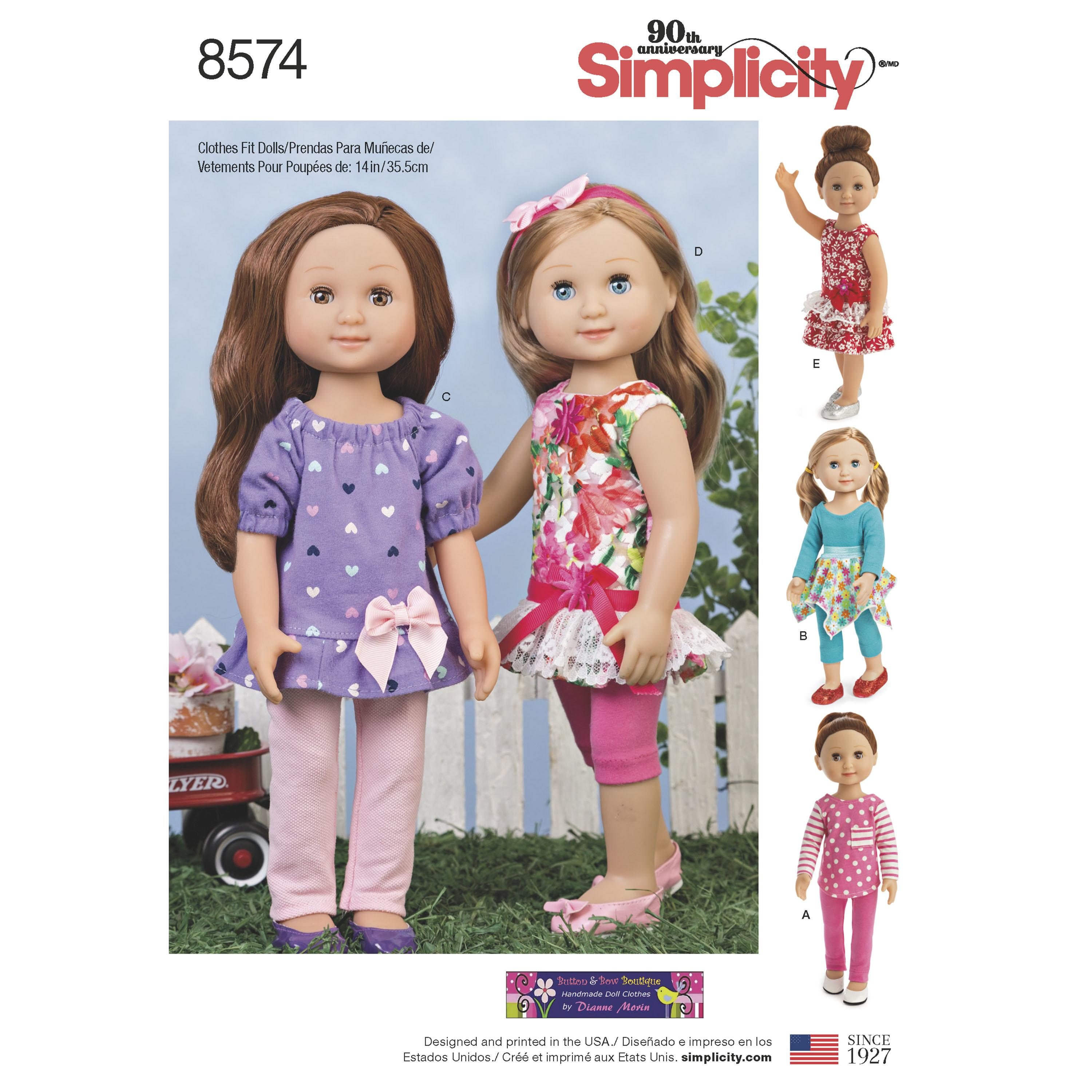 "Simplicity S8574 14"" Doll Clothes"