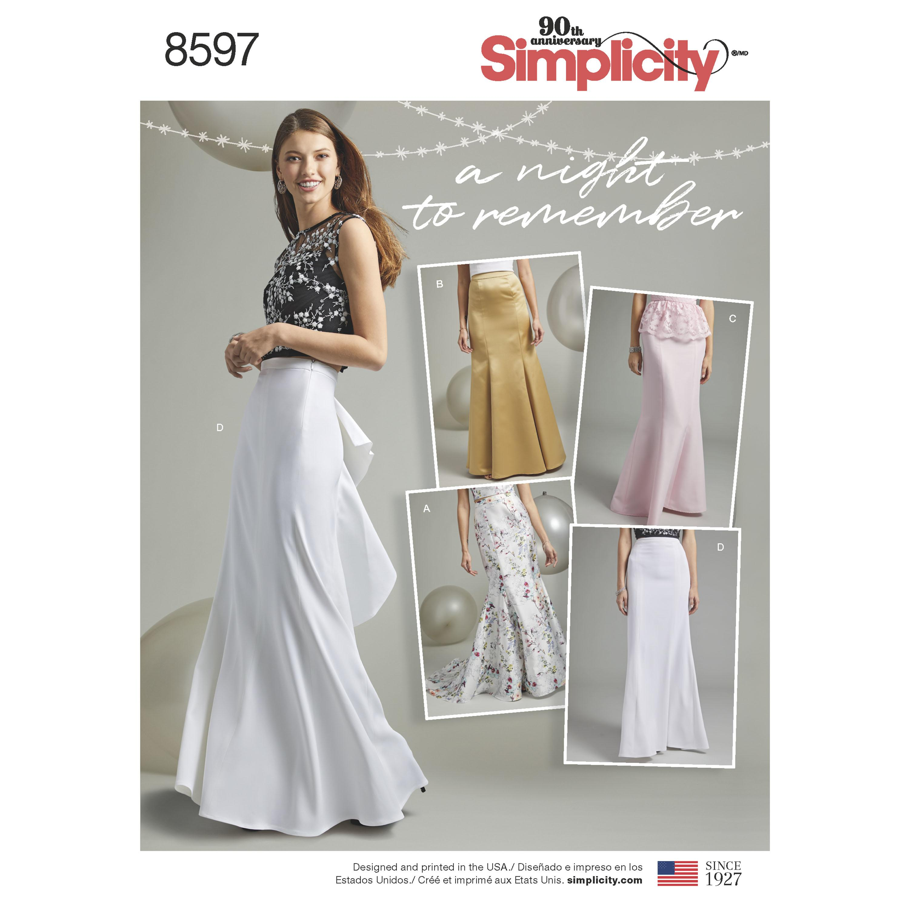 Simplicity S8597 Women's Special Occasion Skirts