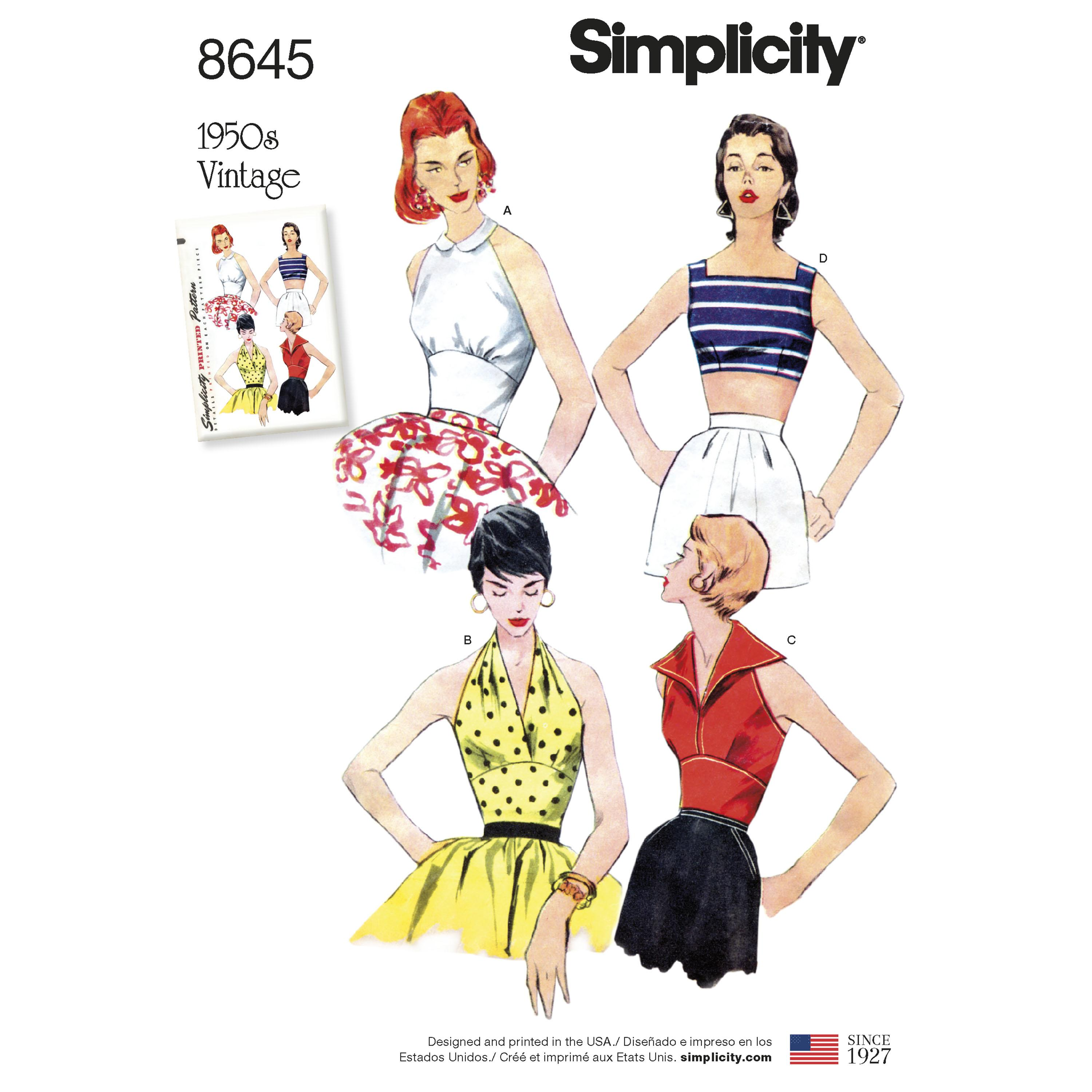 Simplicity S8645 Womens Vintage Tops