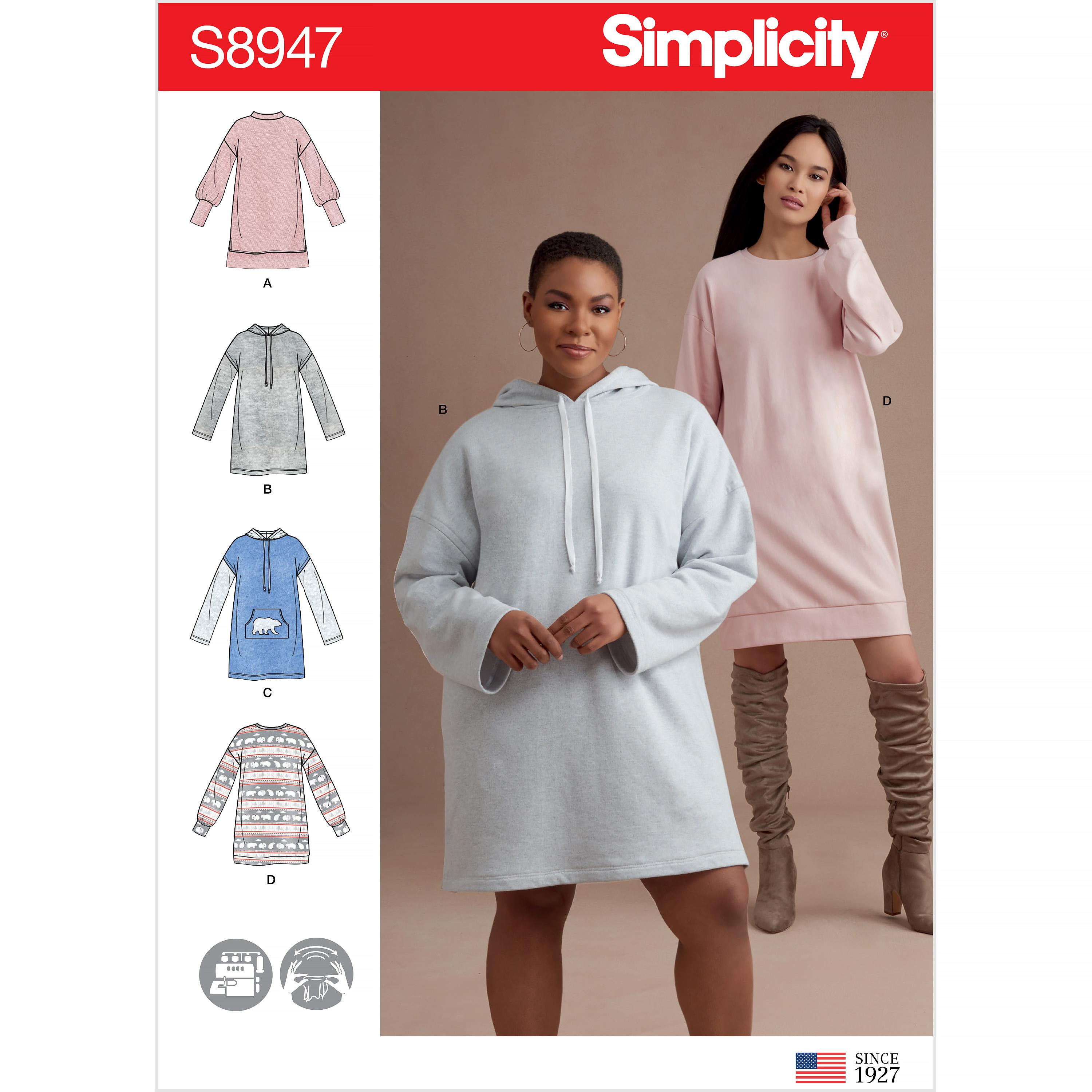 Simplicity S8947 Misses' Knit Sweatshirt Mini Dresses