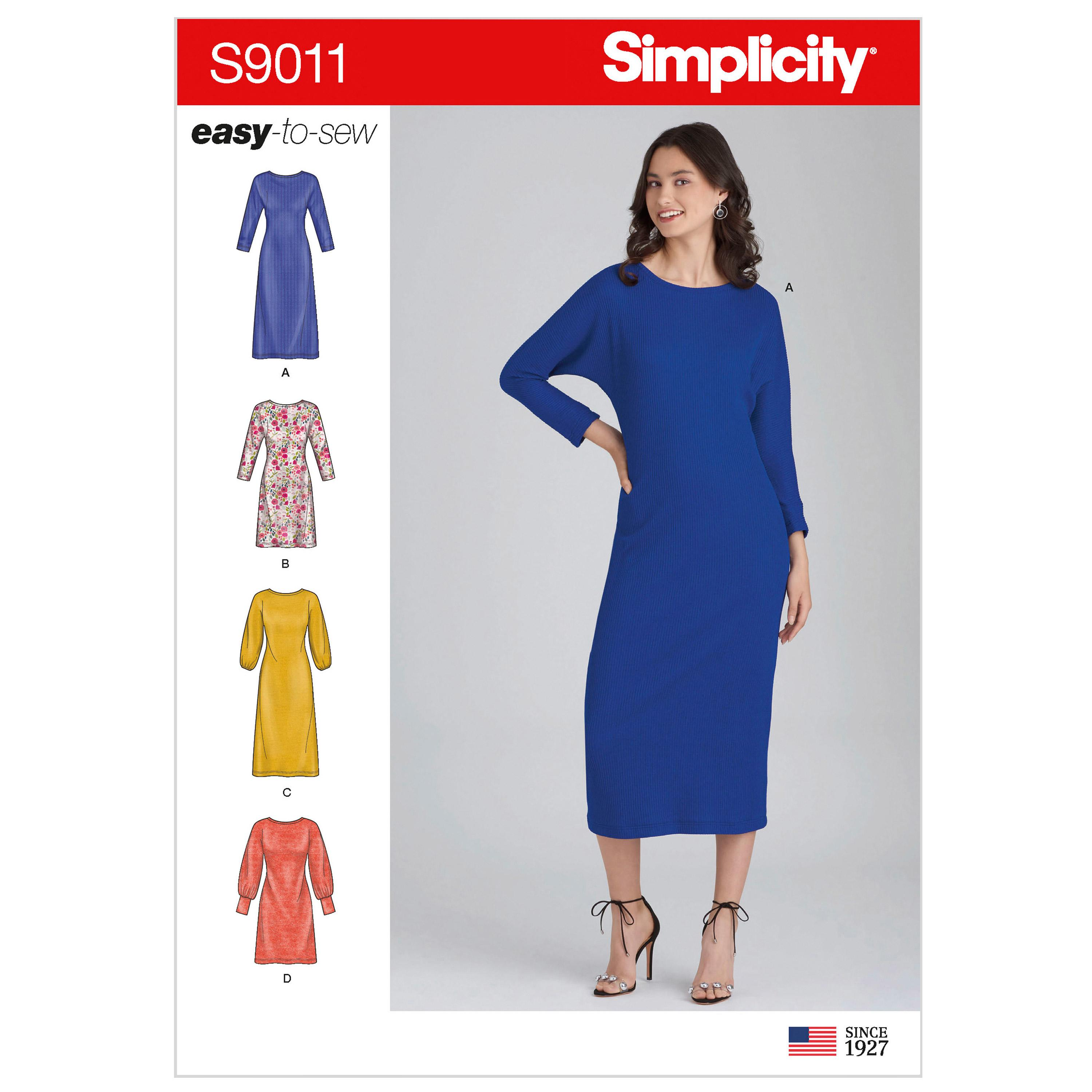 Simplicity S9011 Misses' Knit Pullover Dresses
