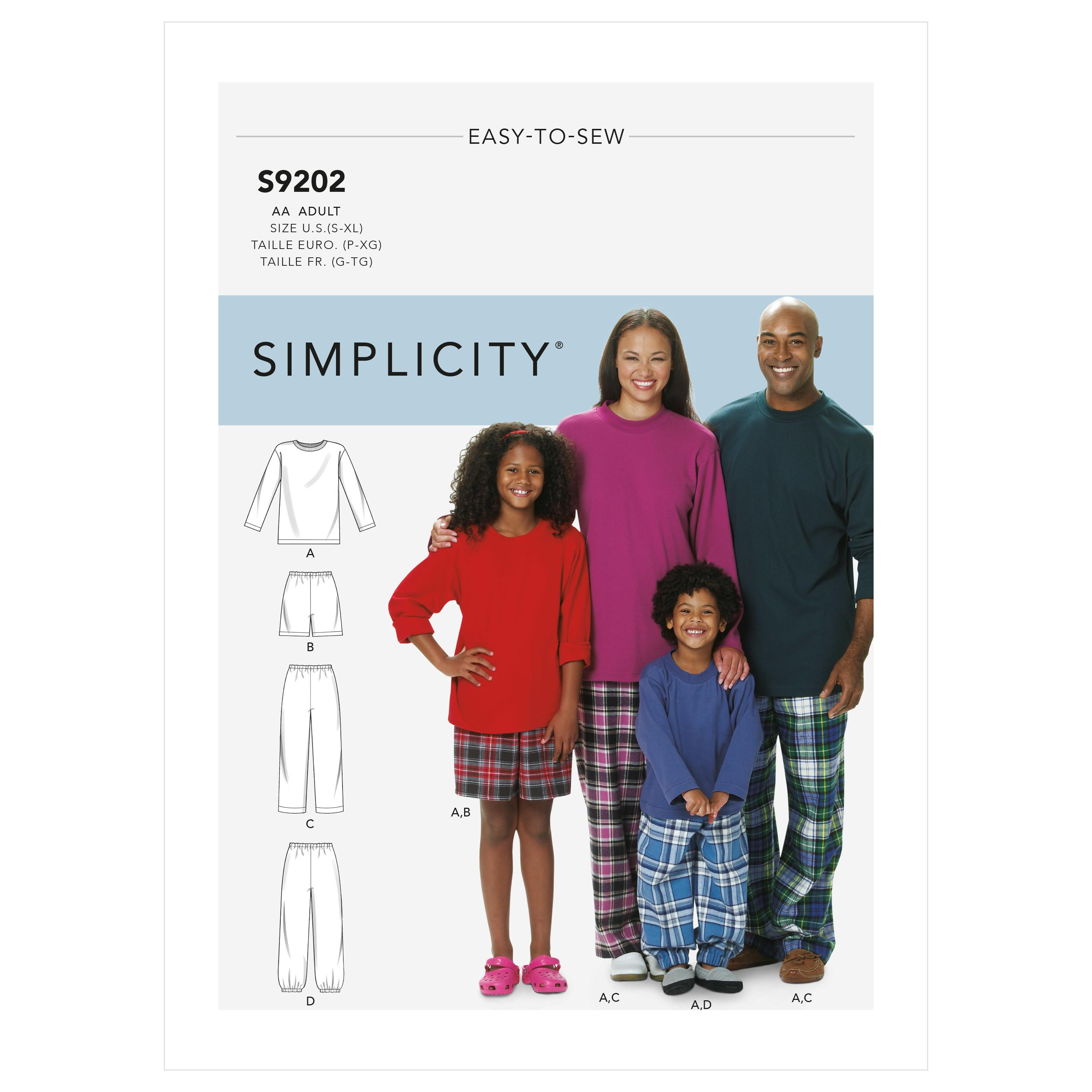 Simplicity S9202 Misses'/Men's/Children's/Boys'/Girls' T-Shirt, Shorts and Pants