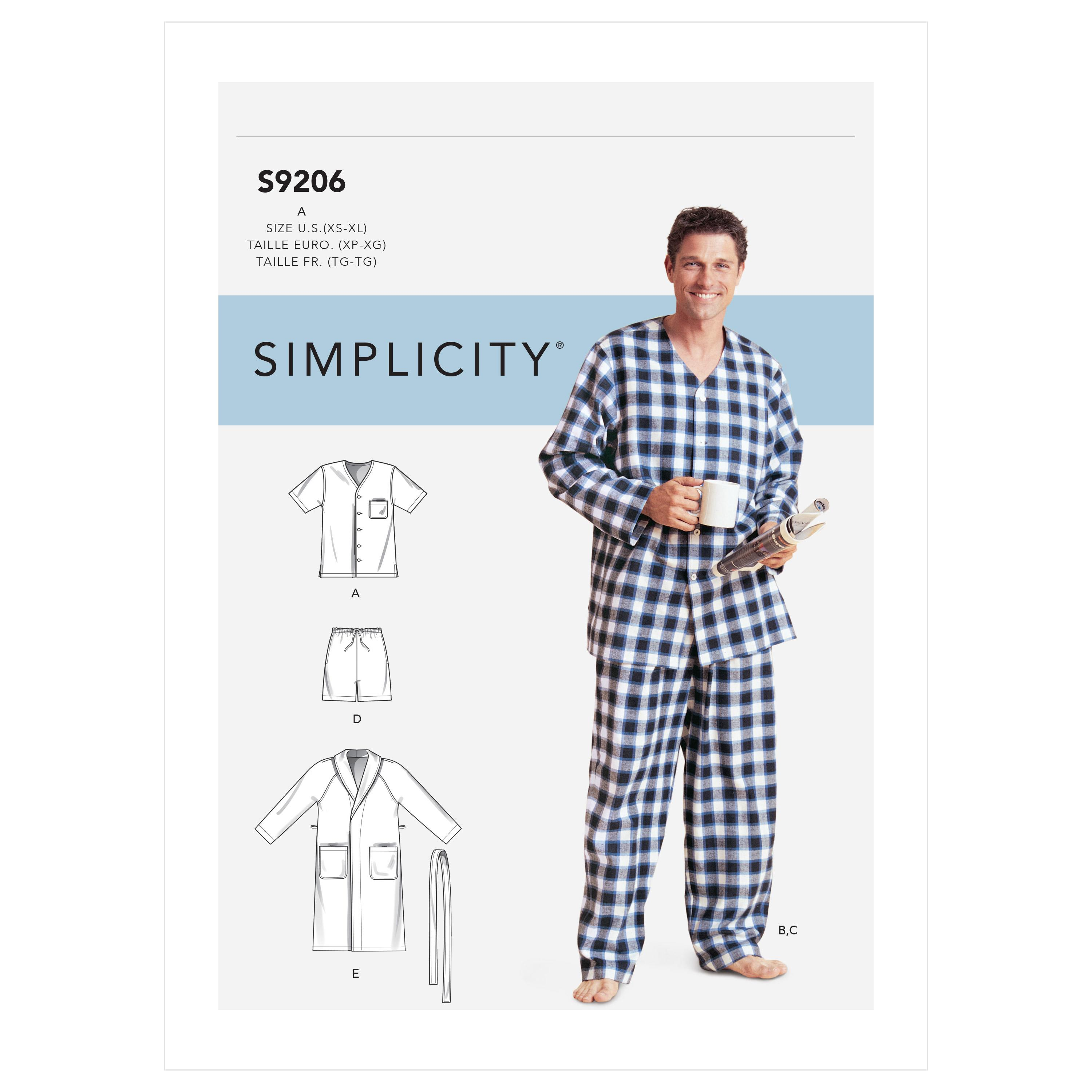 Simplicity S9206 Men's Robe, Belt, Tops, Pants and Shorts