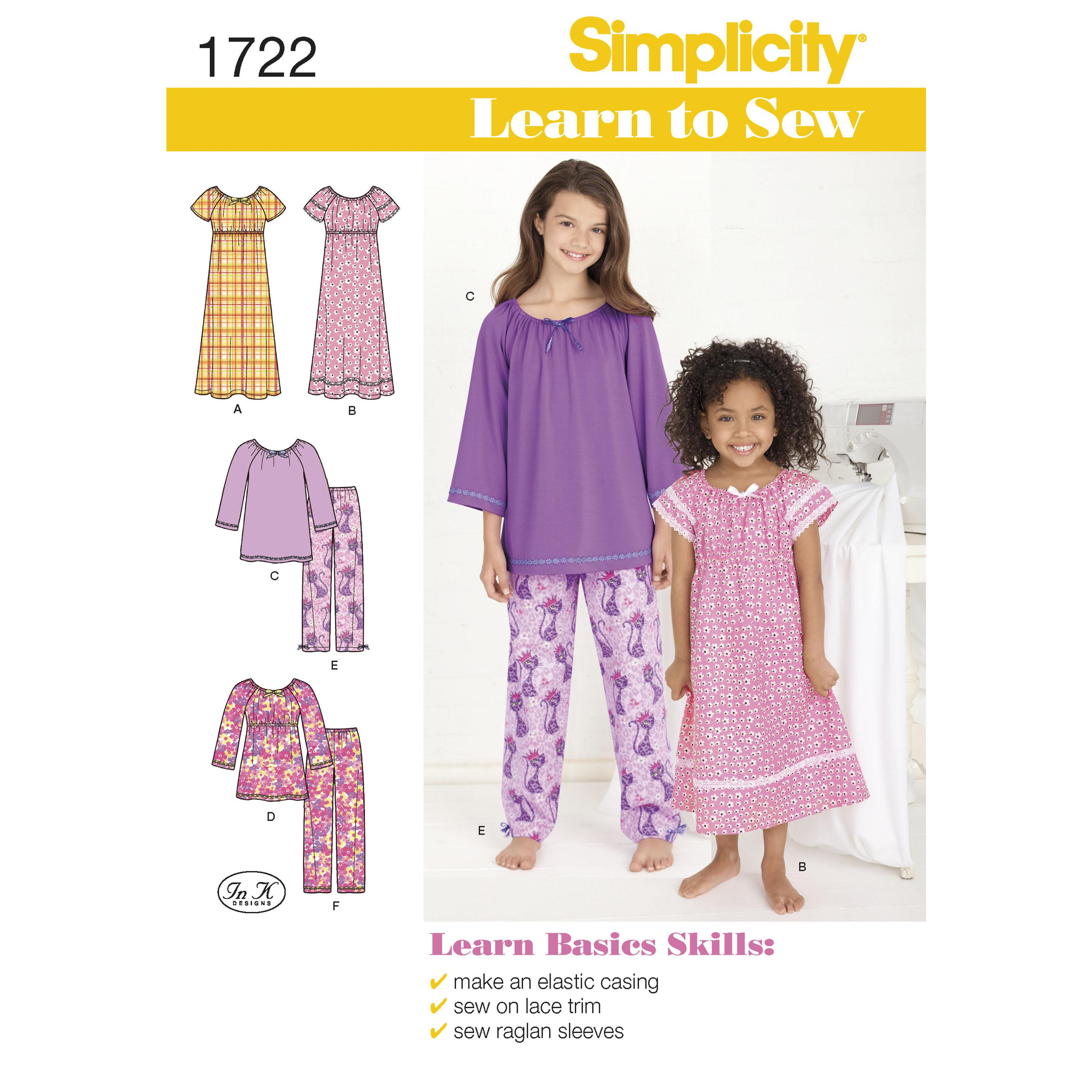 Simplicity S1722 Learn to Sew Child's and Girl's Loungewear