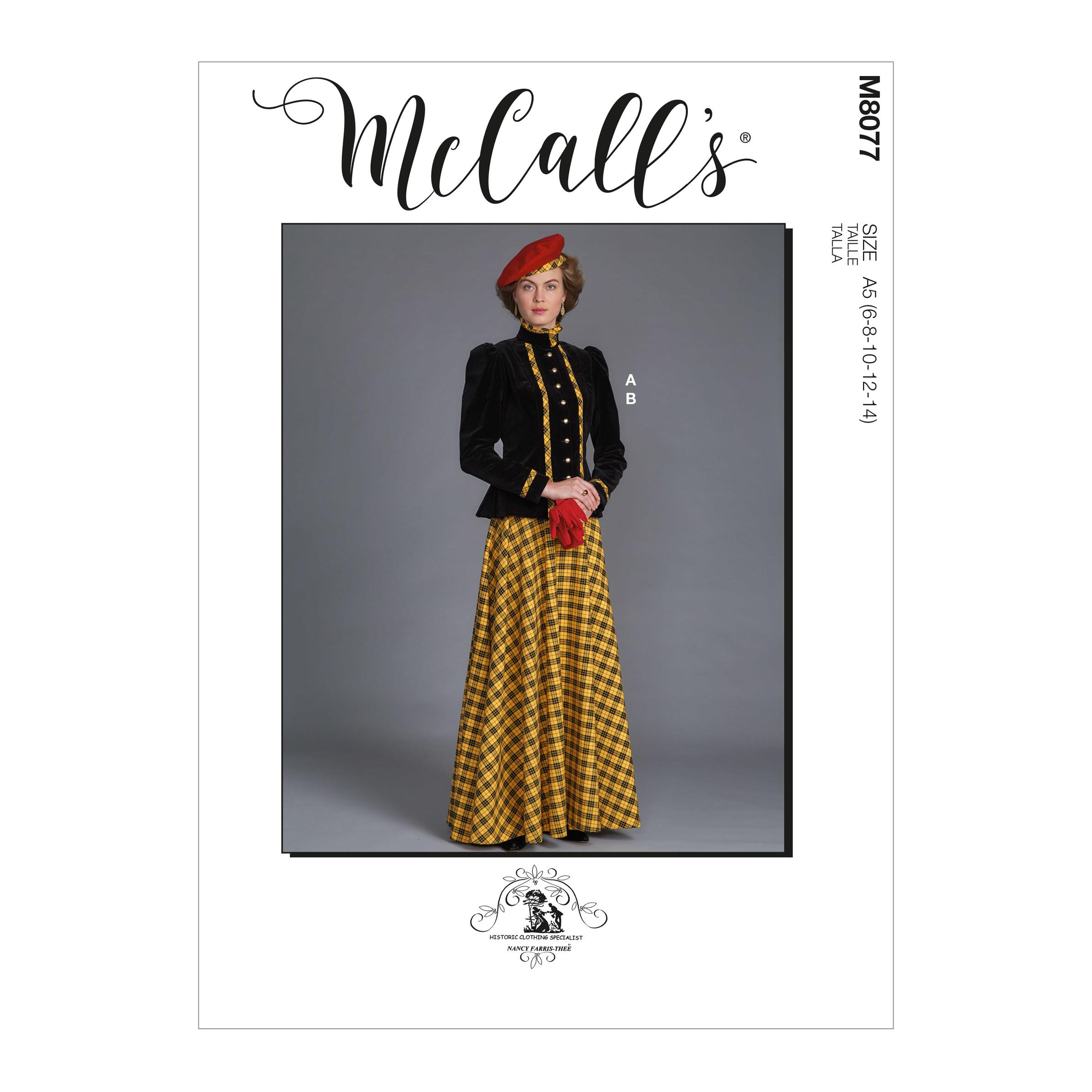 McCalls M8077 Misses' Historical Jacket & Skirt