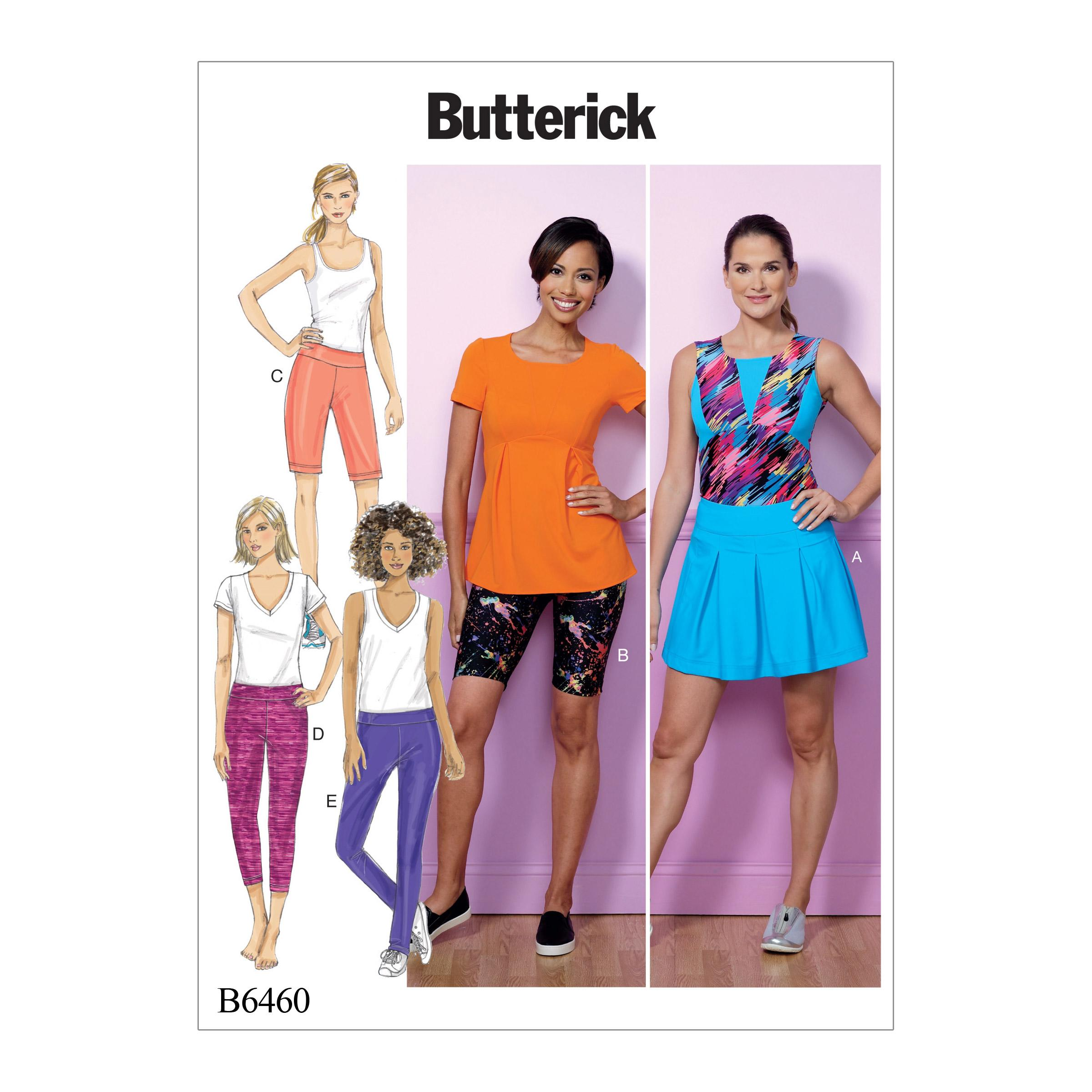 Butterick B6460 Misses' Pleated Skort, and Pull-On Shorts and Pants