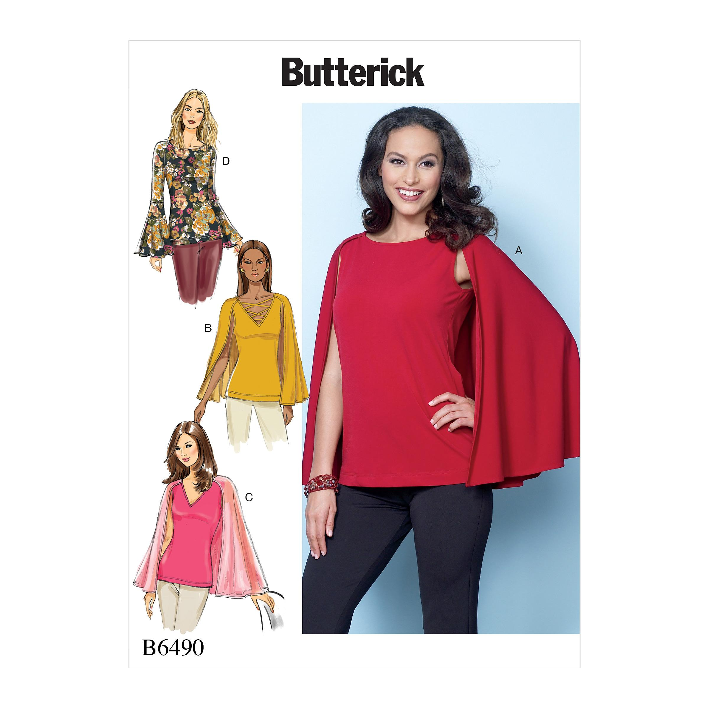 Butterick B6490 Misses' Tops with Attached Cape and Sleeve Variations