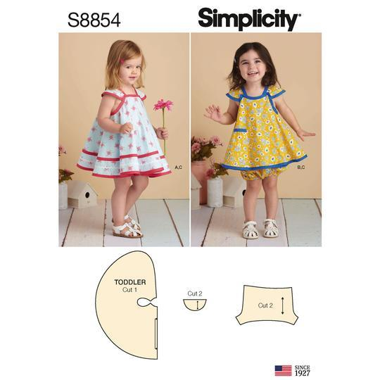 Simplicity S8854 Toddlers' Pinafore and Panties