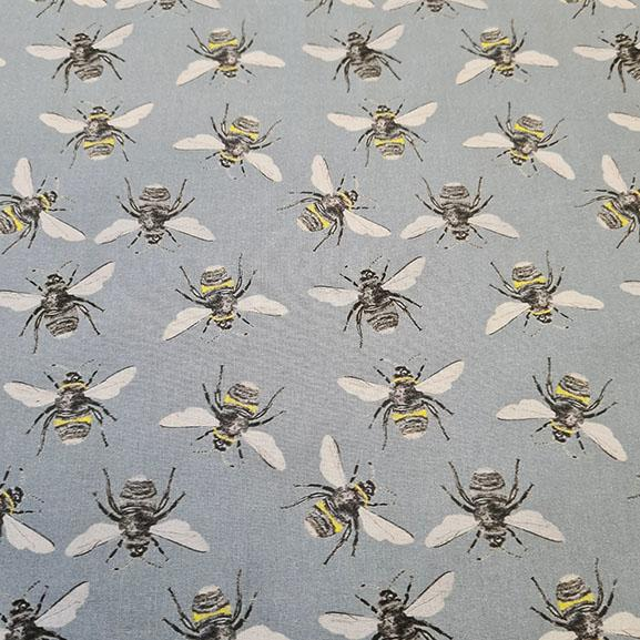 Bumble Bees in Grey 100% Cotton