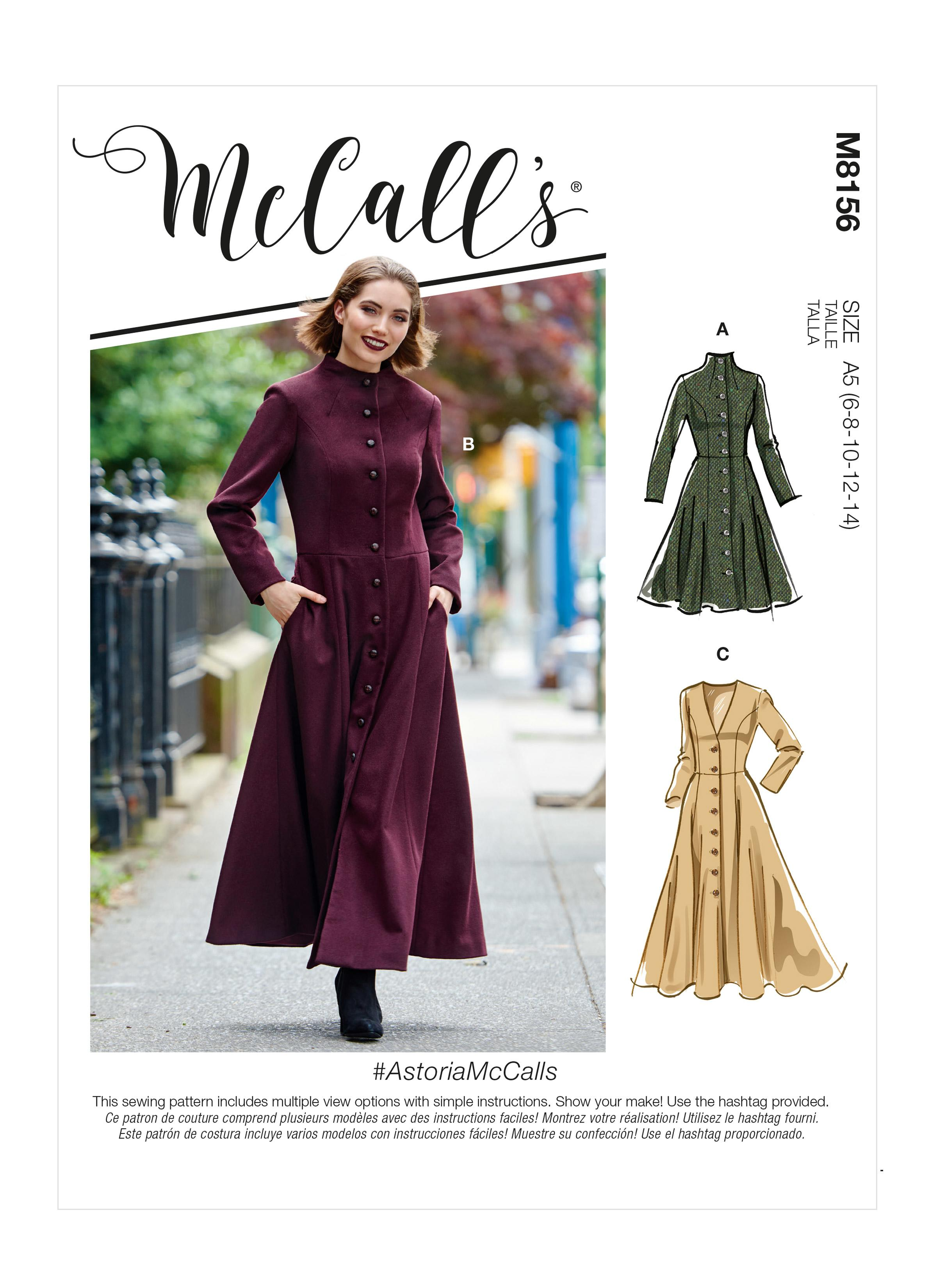 McCalls M8156 #AstoriaMcCalls - Misses' Coats