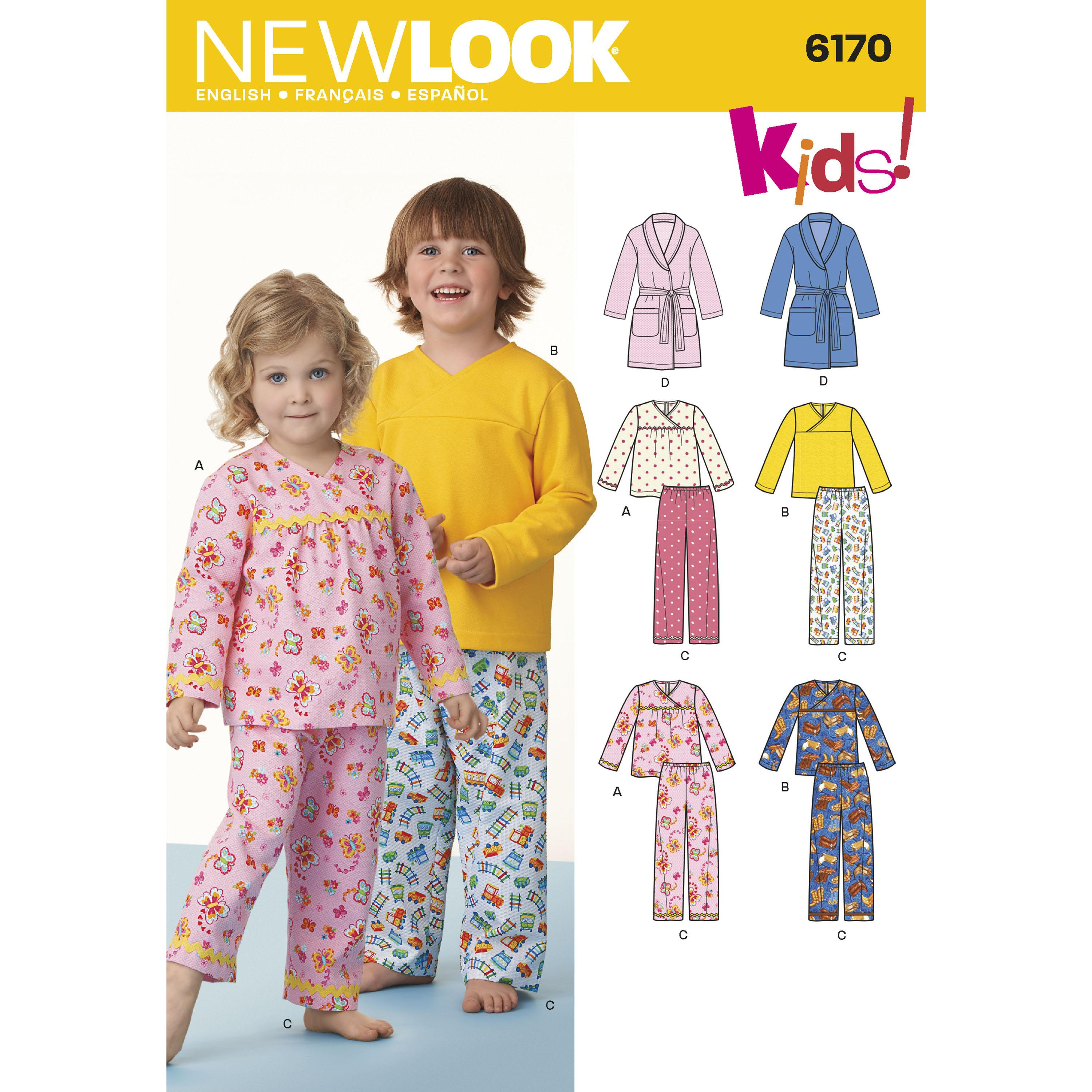 NewLook N6170 Toddlers' and Child's Pajamas