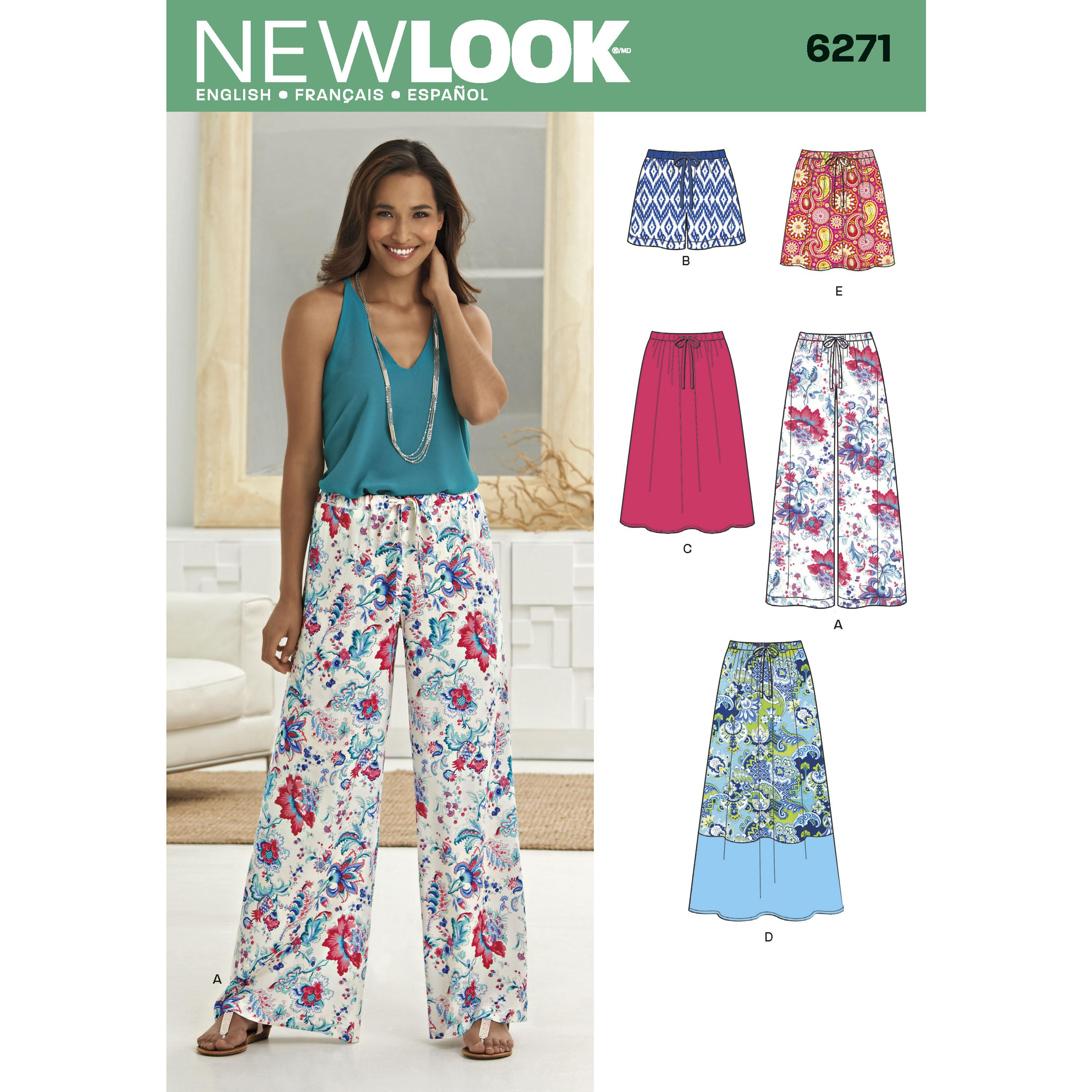 NewLook N6271 Misses' Skirt in Three Lengths and Pants or Shorts