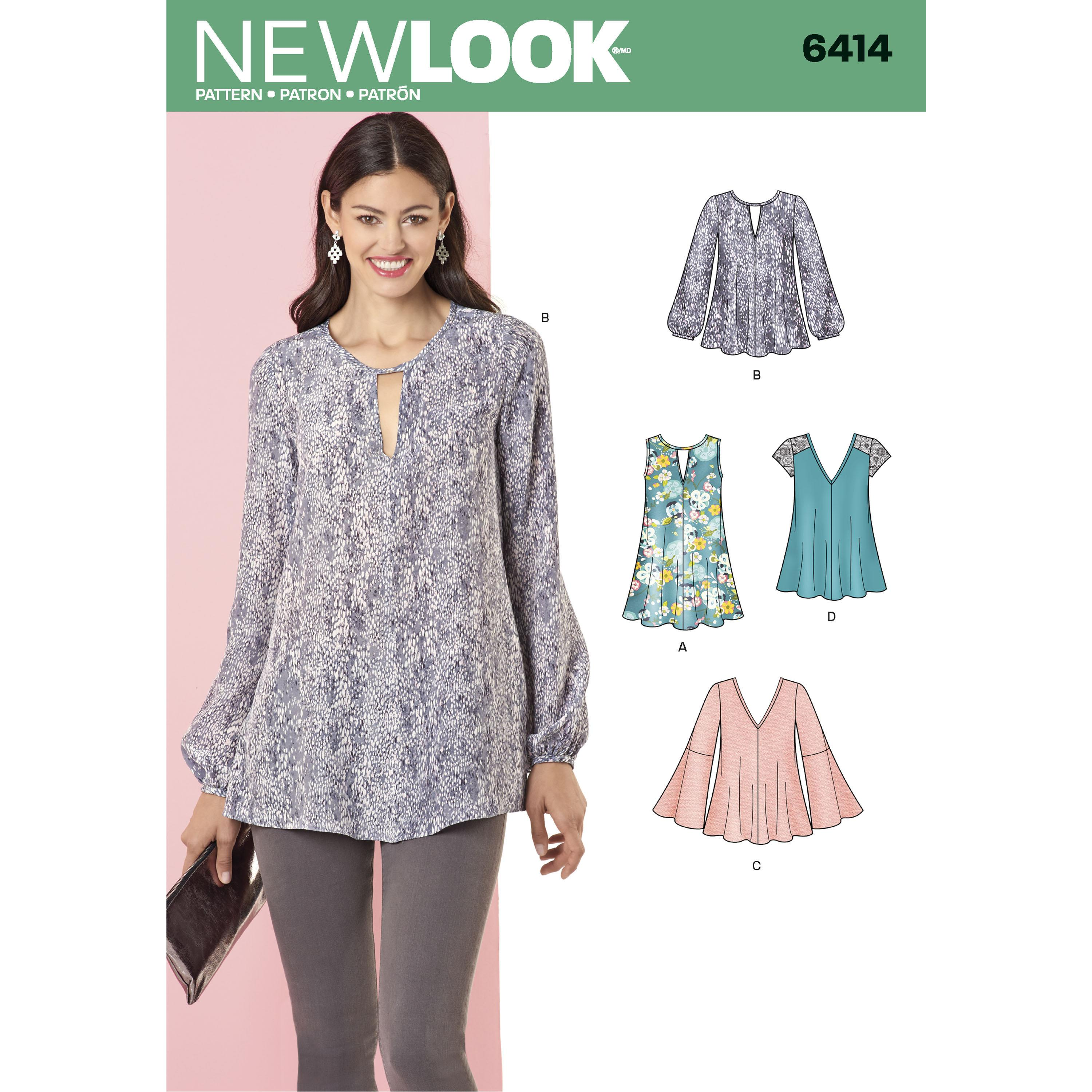 NewLook N6414 Misses' Tunic and Top with Neckline Variations