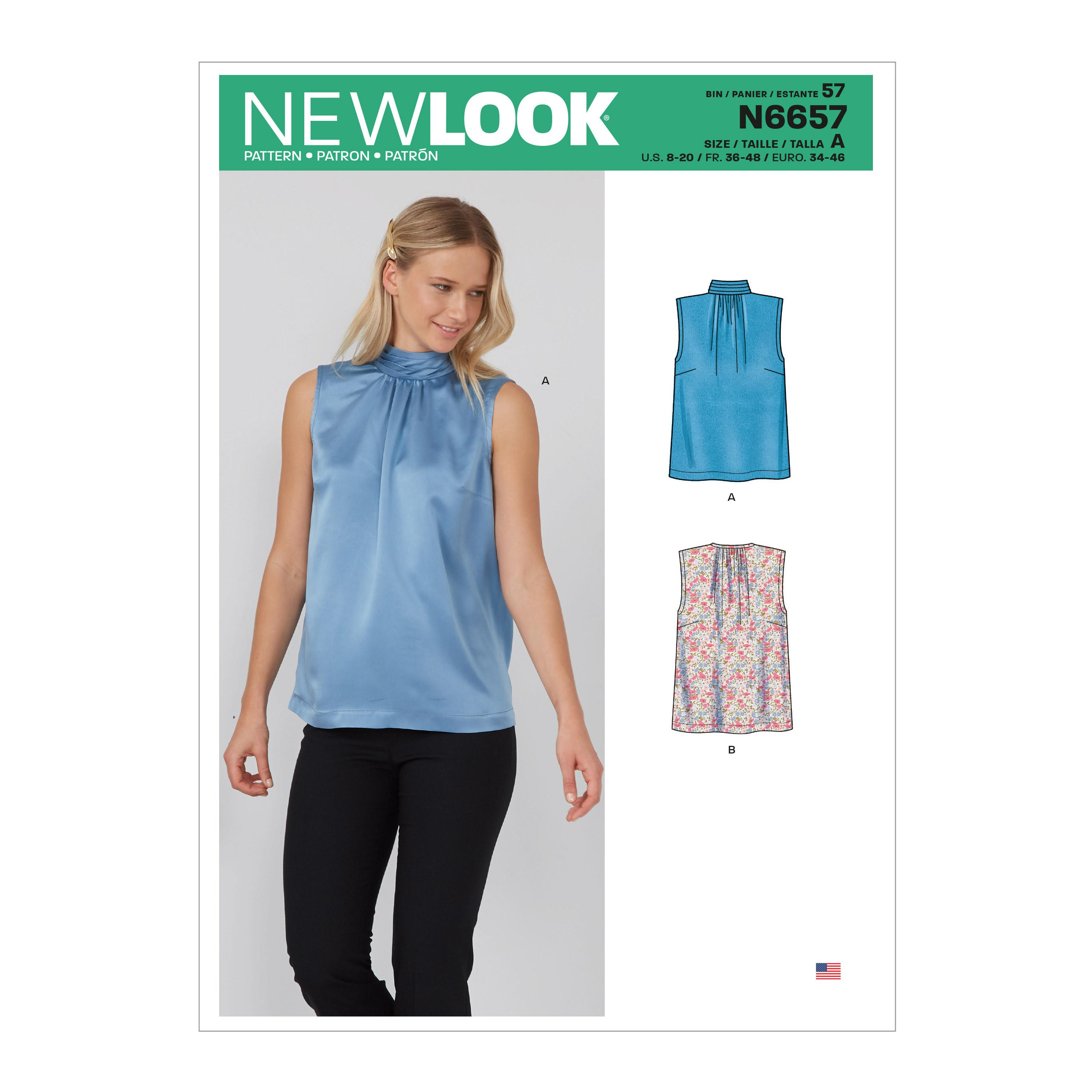 New Look Sewing Pattern N6657 Misses' Shell Top With or Without Pleated Neckband & Back Bow