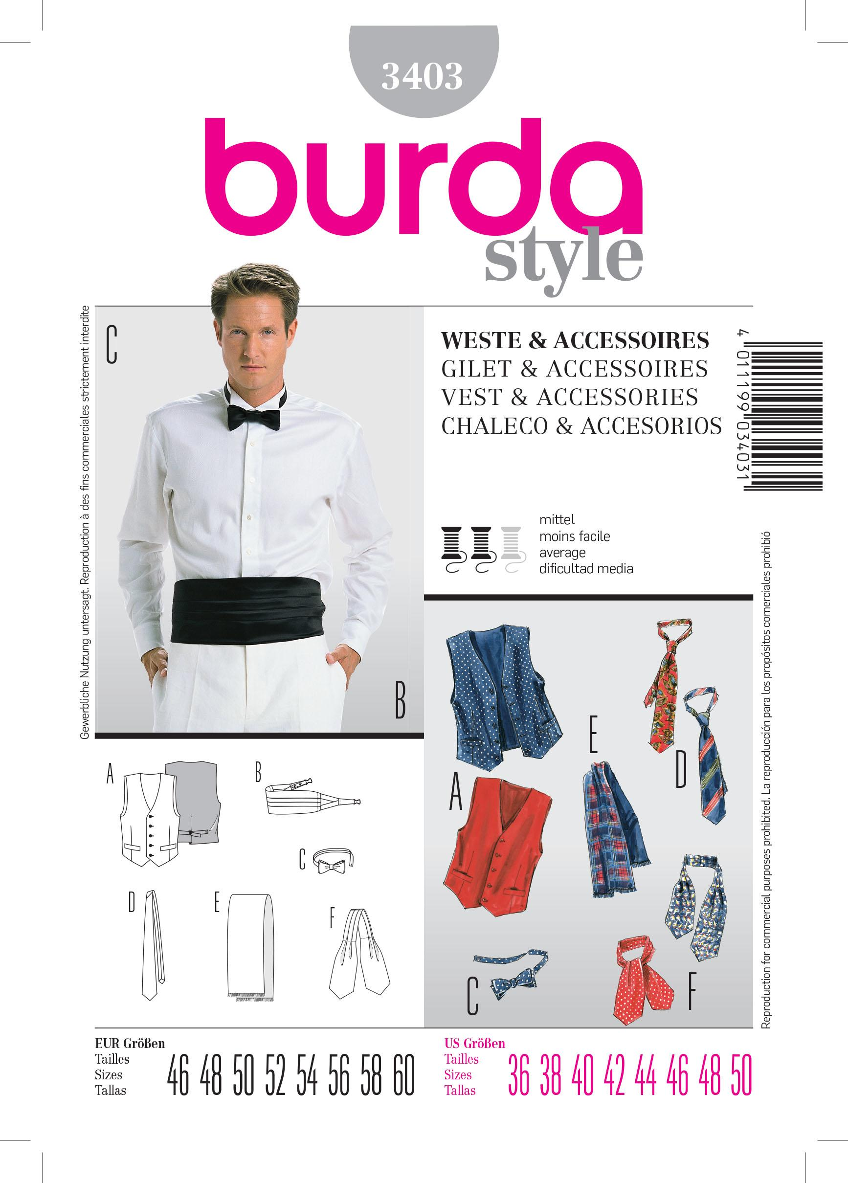 Burda Men's B3403 Vest & Accessories Sewing Pattern Sewing Pattern