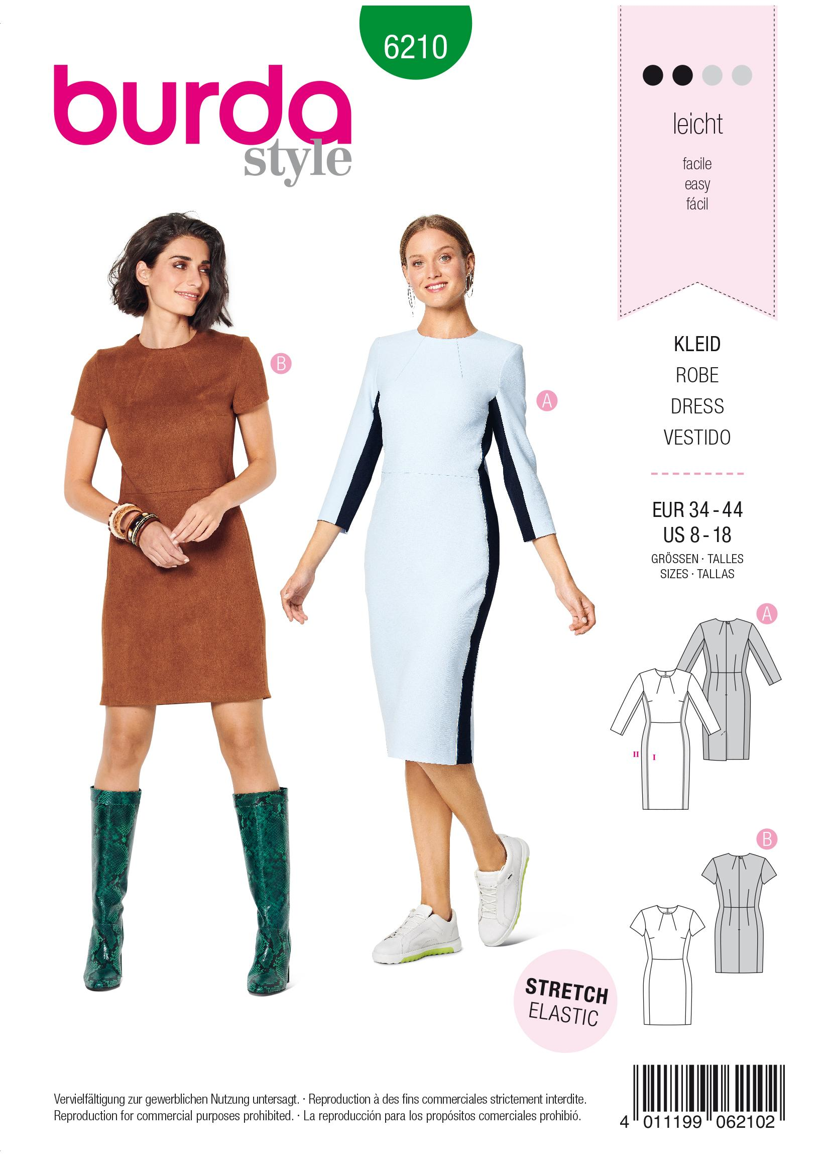 Burda B6210 Shift Dress with Back Vent Sewing Pattern