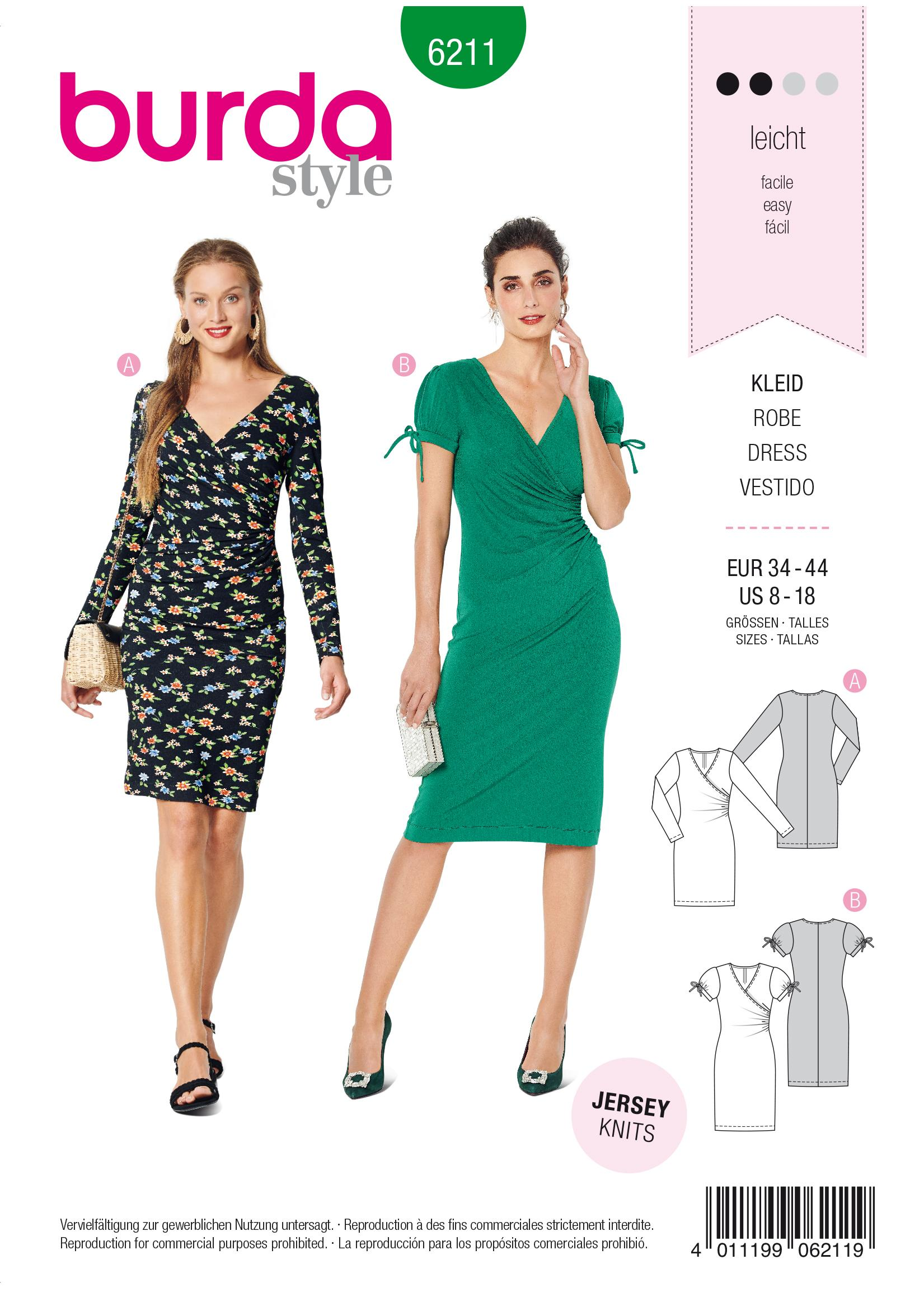 Burda B6211 Dress in Wrap Look Sewing Pattern
