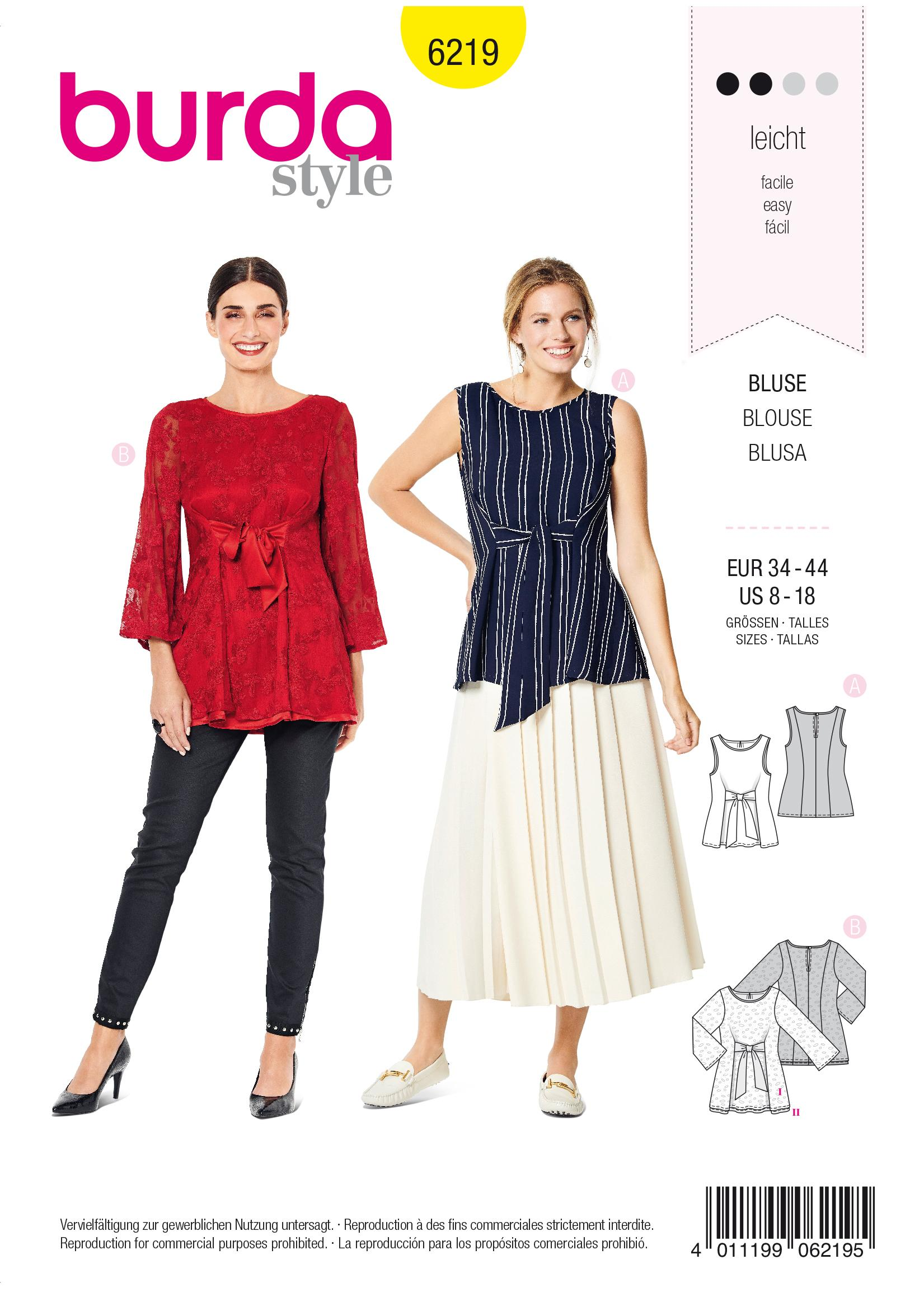 Burda B6219 Sleeveless Blouse Sewing Pattern