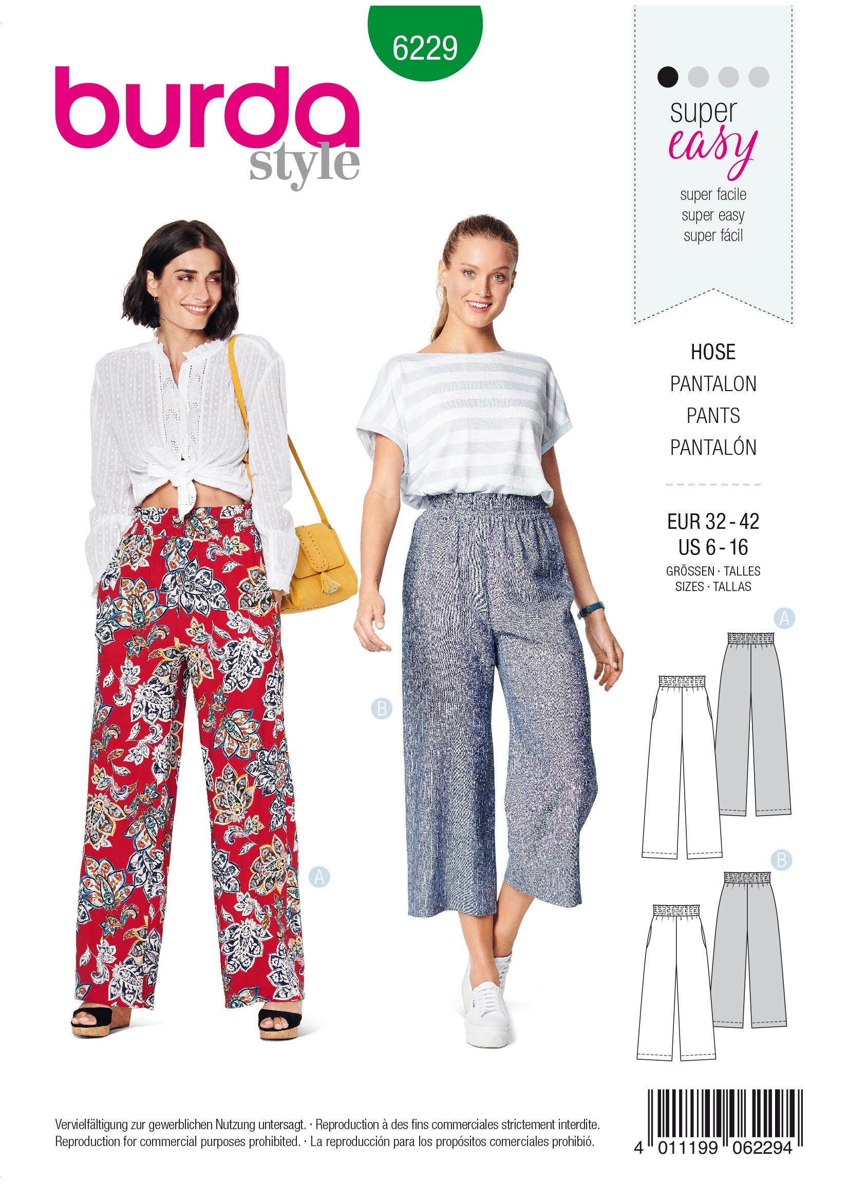 Burda B6229 Trousers/Pants with Elastic Waist with Pockets in Seams Sewing Pattern