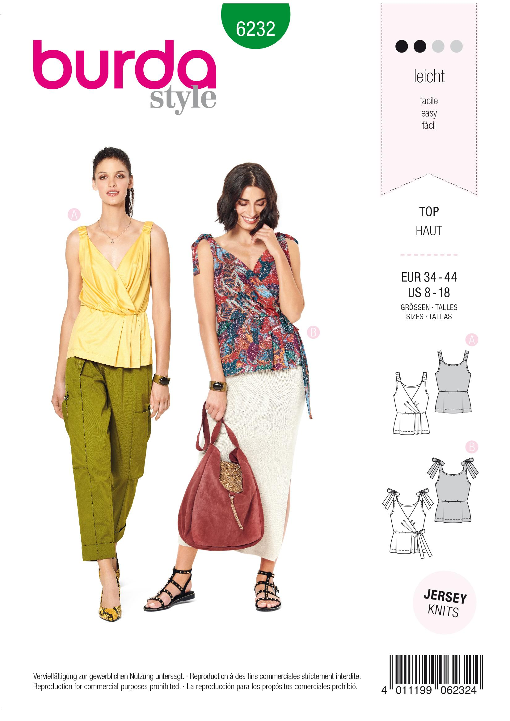Burda B6232 Top in Wrap Look –  Stretch Straps – Tit Straps Sewing Pattern