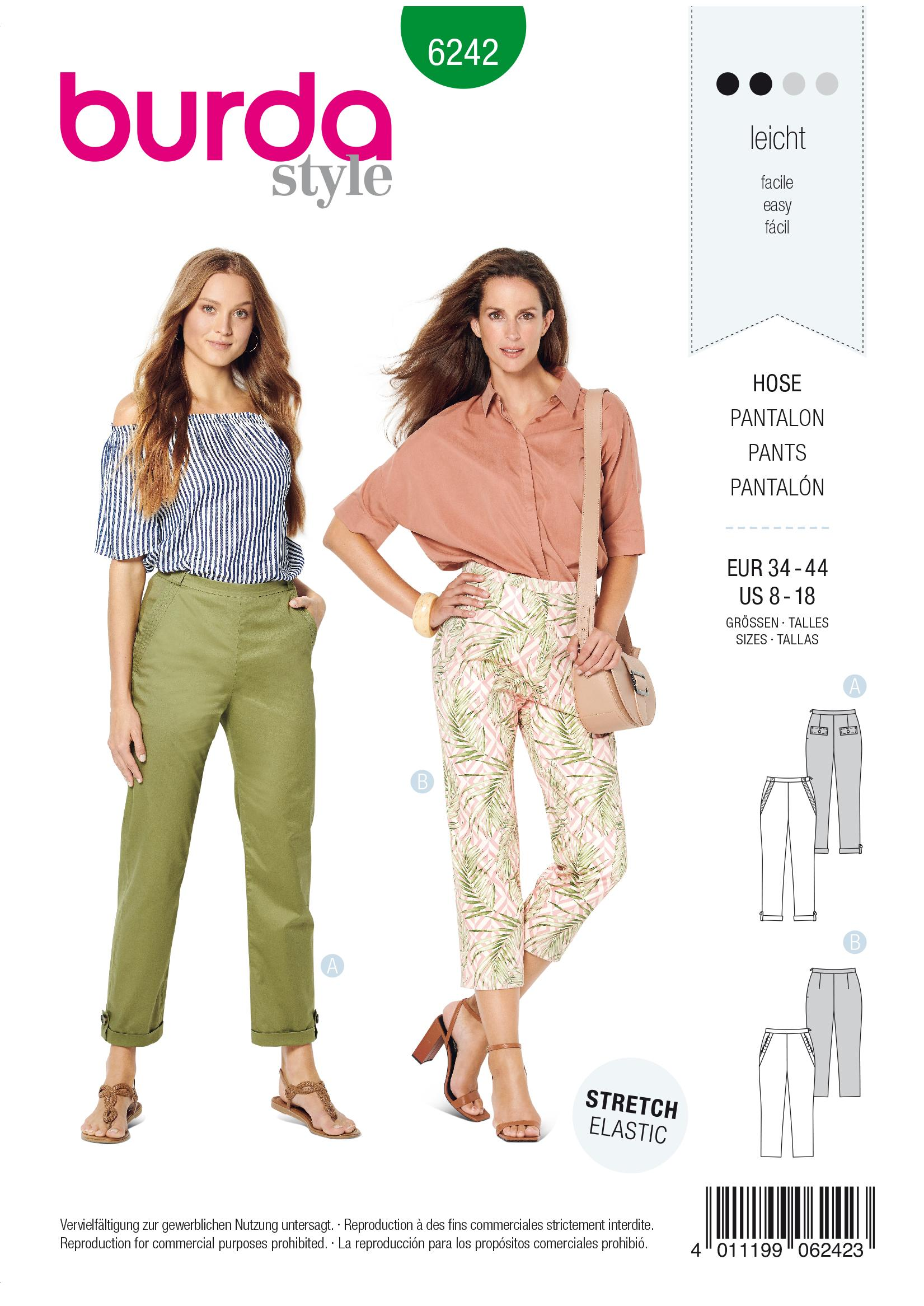 Burda B6242 Trousers/Pants with Side Zip Fastening Sewing Pattern