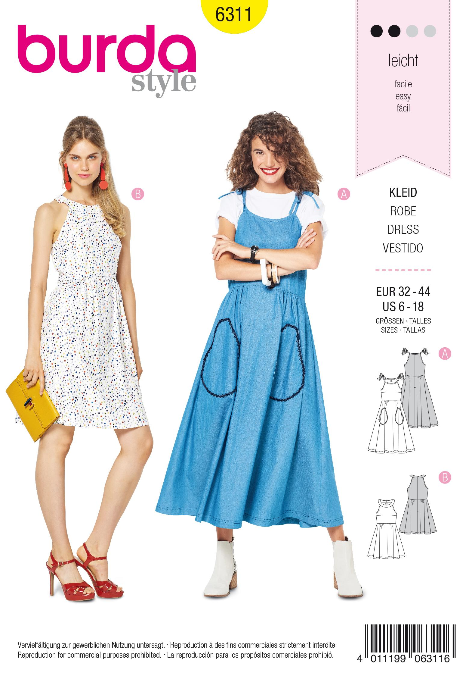 Burda 6311 Misses' bare shoulder dress