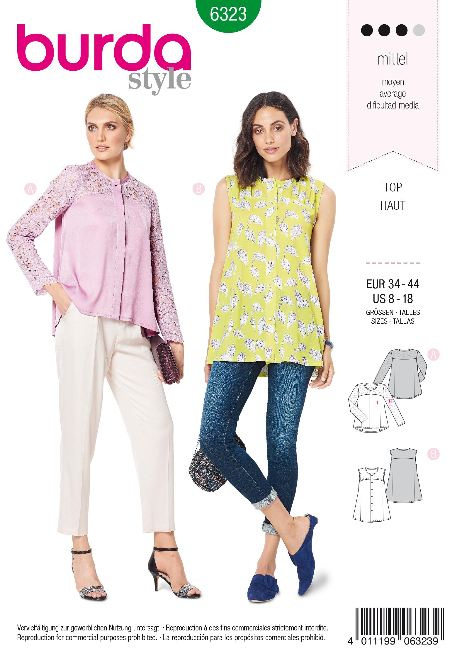Burda 6323 Misses' blouse with yoke