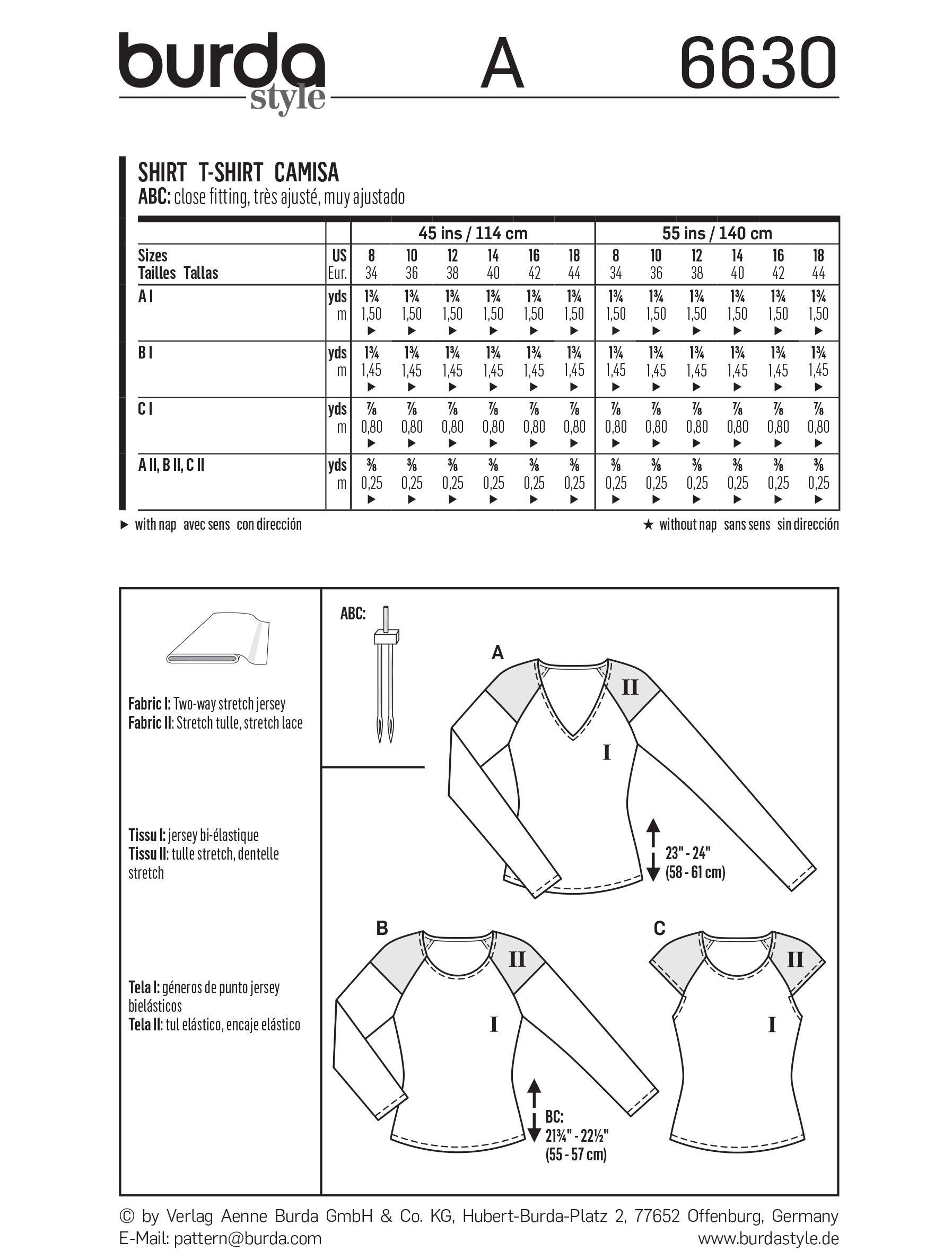 Burda B6630 Women's Shirt Sewing Pattern