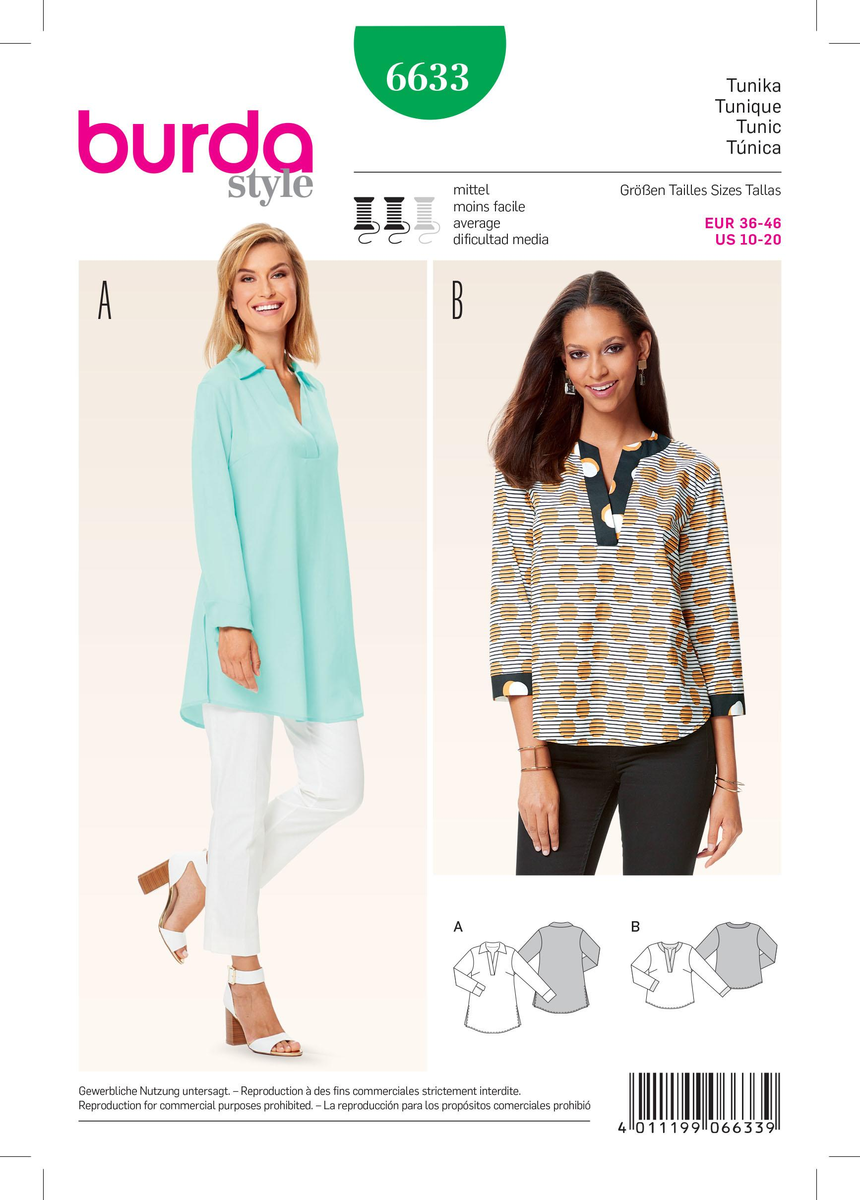 Burda B6633 Women's Tunic Sewing Pattern