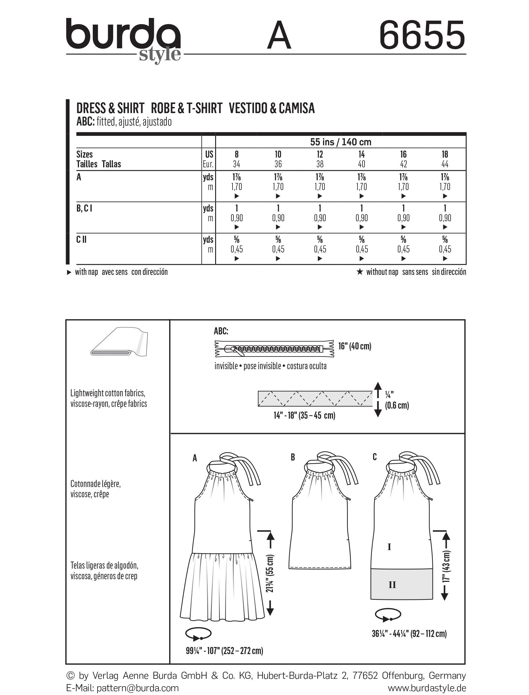 Burda B6655 Women's Dress & Shirt Sewing Pattern