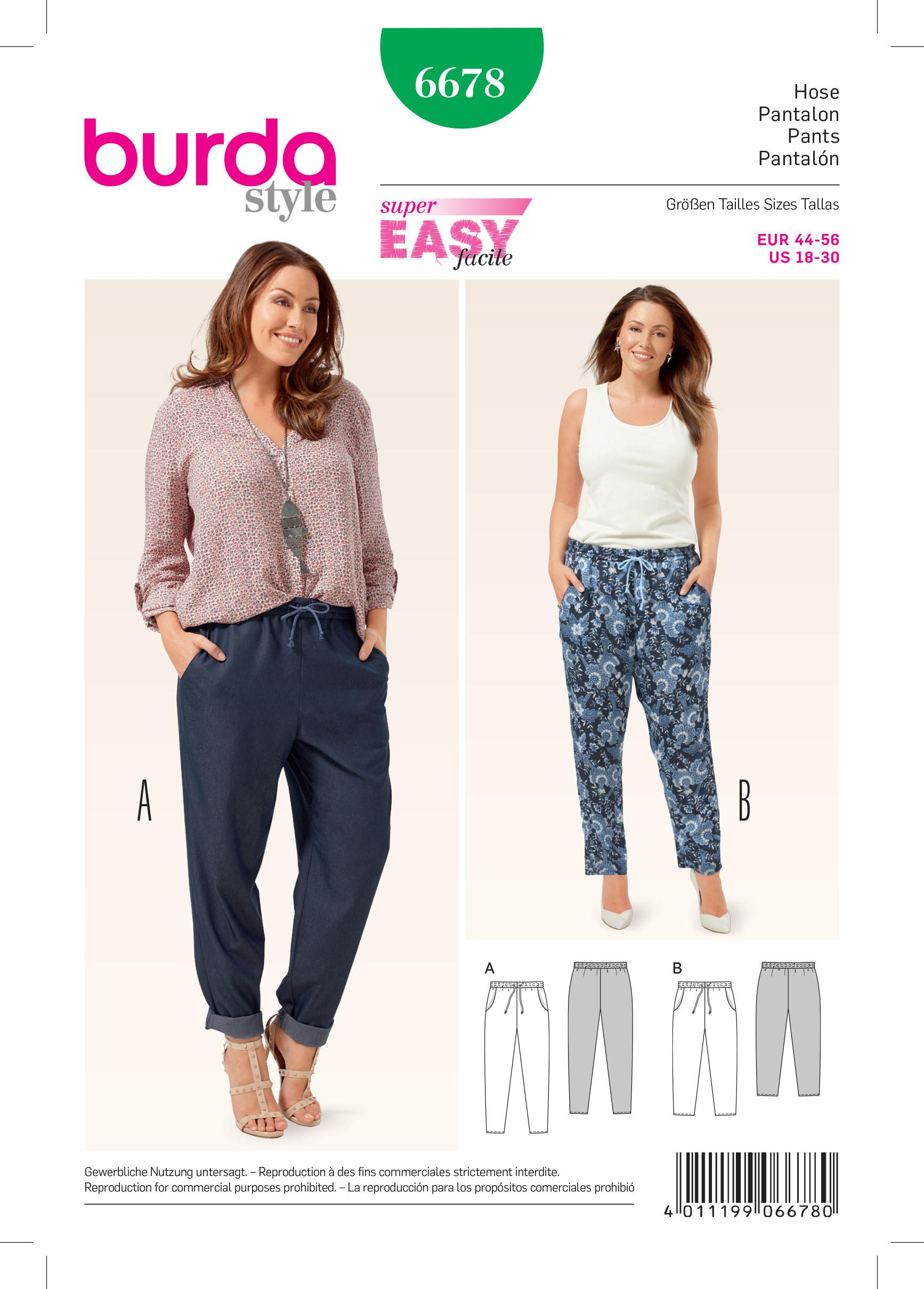 Burda B6678 Women's Trousers Sewing Pattern