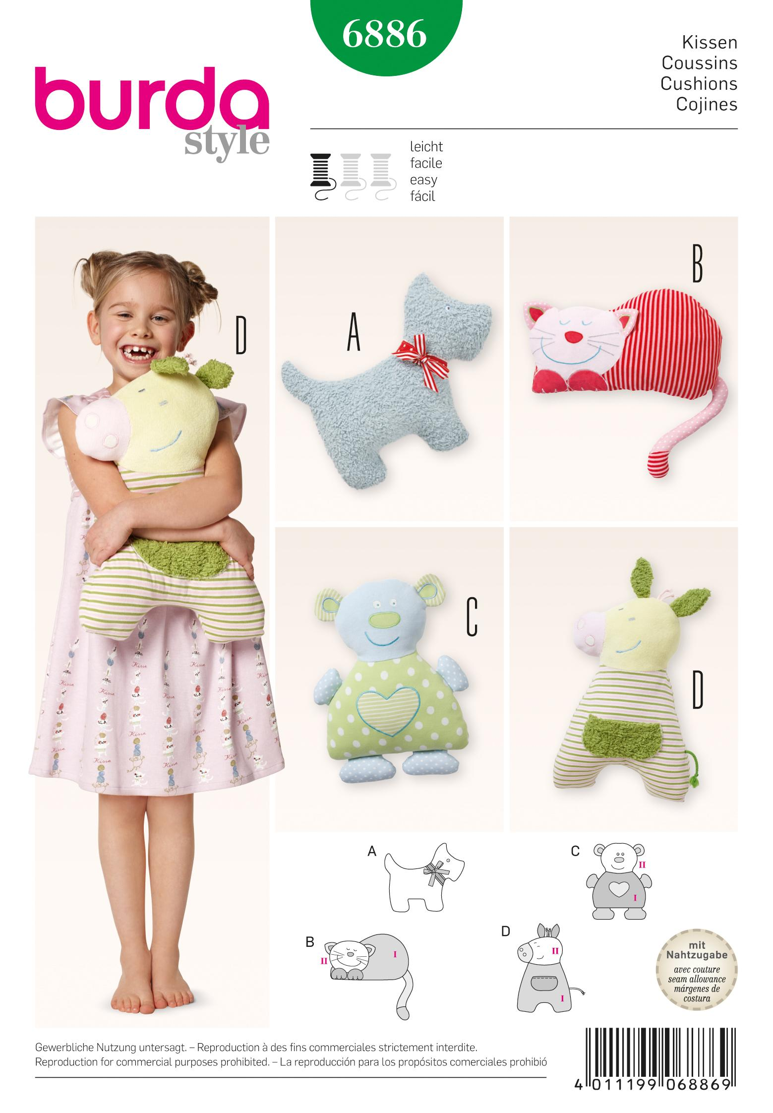 Burda B6886 Doll Clothes Sewing Pattern