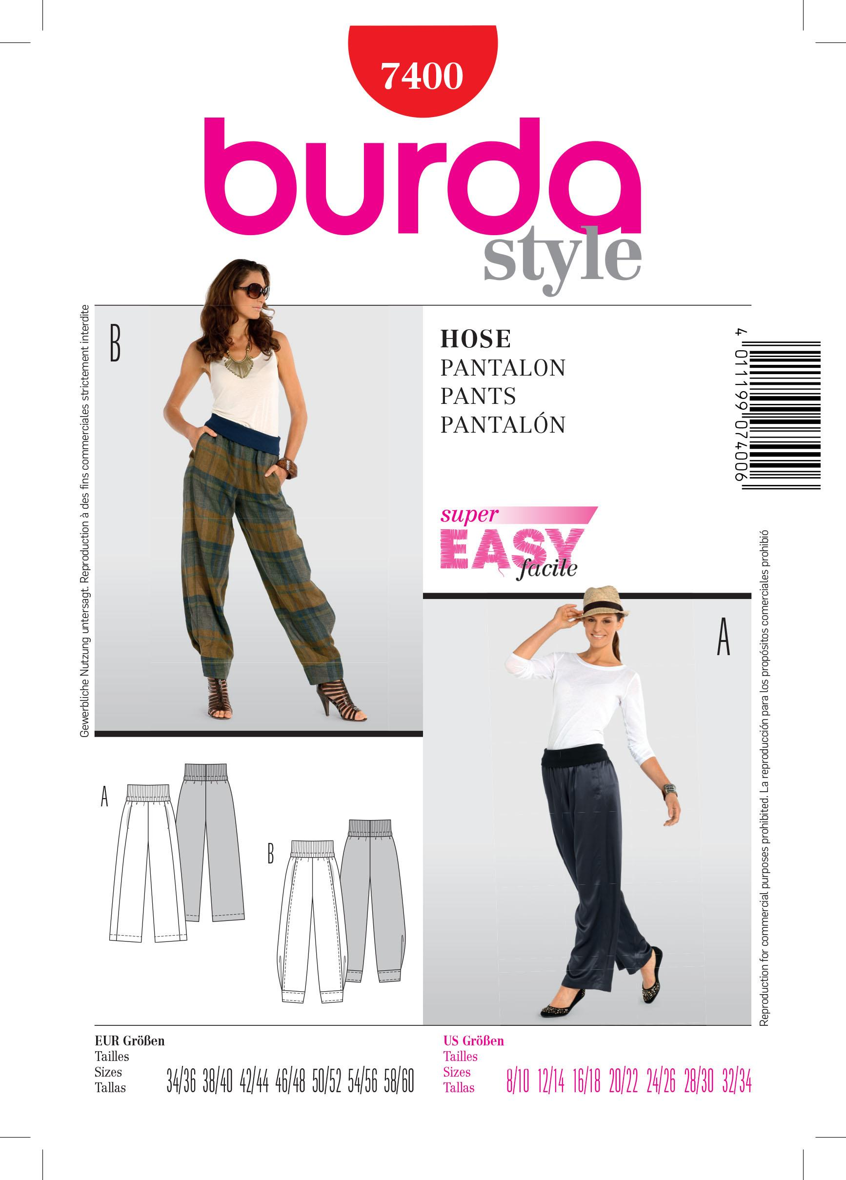 Burda B7400 Trousers Sewing Pattern
