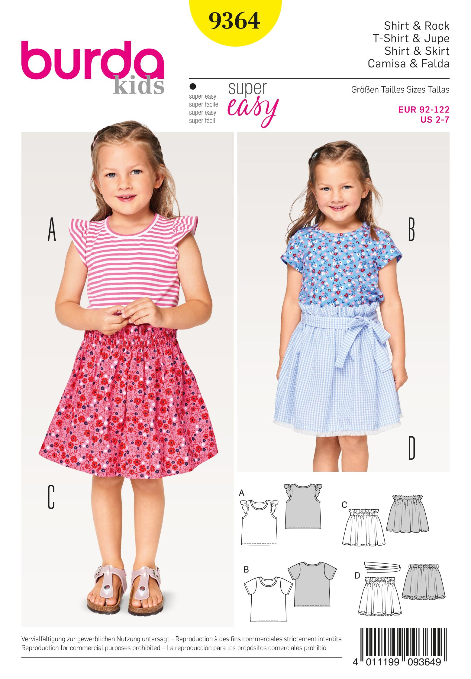 Burda B9364 Child shirt and Elastic Skirt
