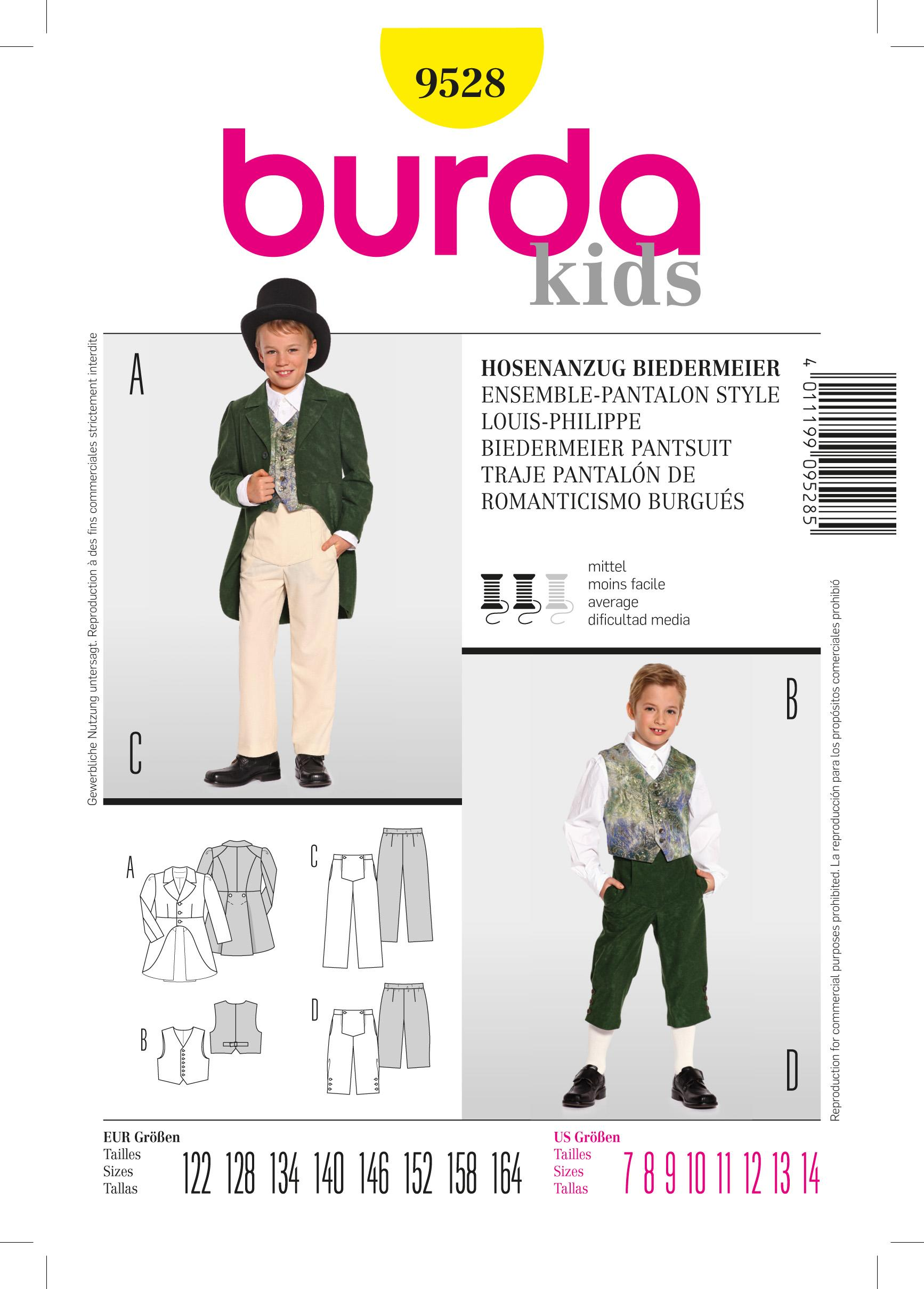 Burda B9528 Burda, Biedermeier Trousersuit