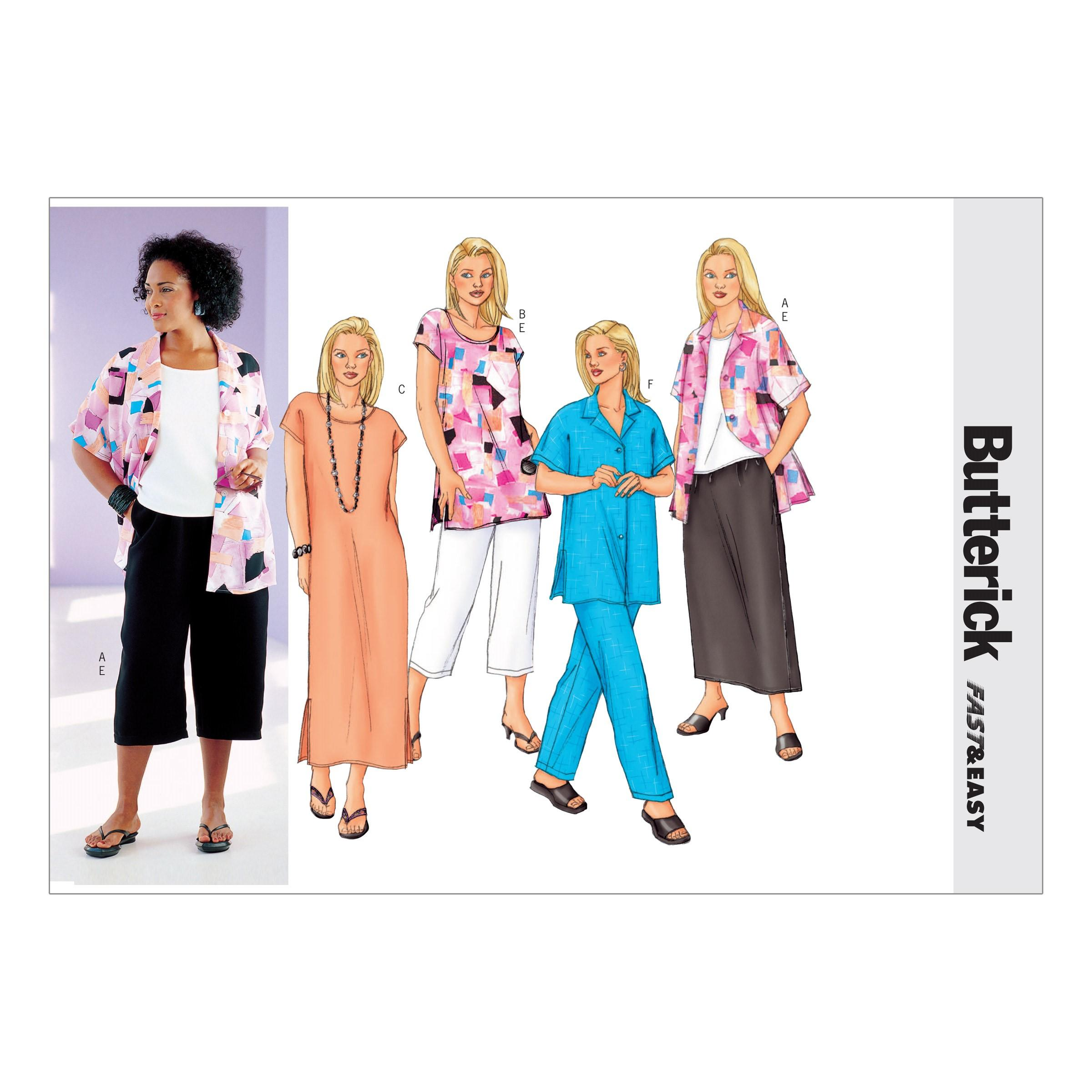 Butterick B3039 Women's/Women's Petite Shirt, Top, Tunic, Dress, Skirt & Pants